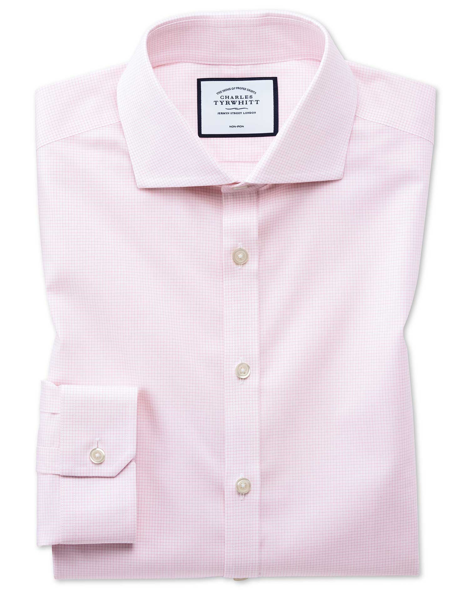 Super Slim Fit Non-Iron 4-Way Stretch Pink Check Cotton Formal Shirt Single Cuff Size 15.5/33 by Cha