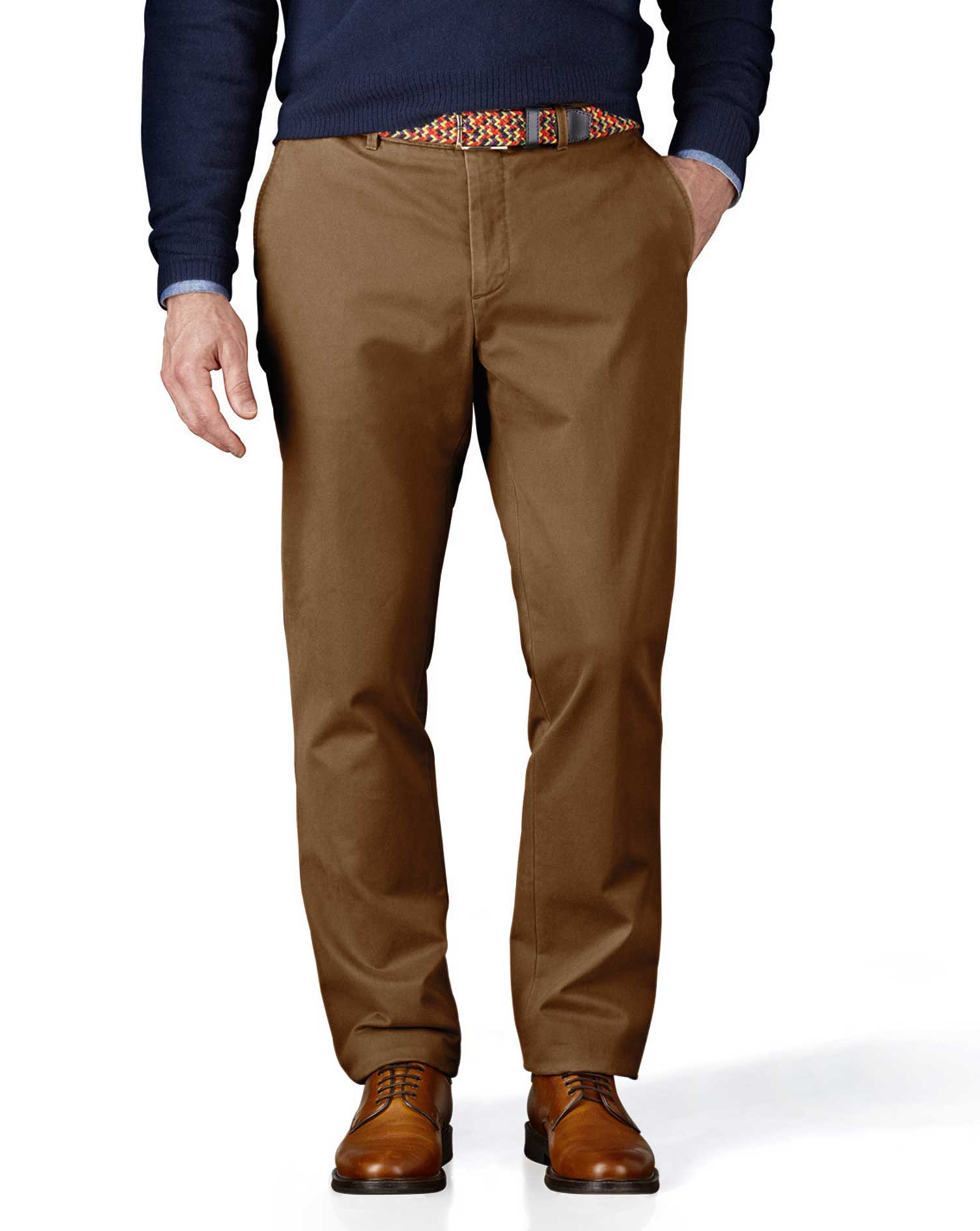 Camel Extra Slim Fit Flat Front Cotton Chino Trousers Size W32 L34 by Charles Tyrwhitt