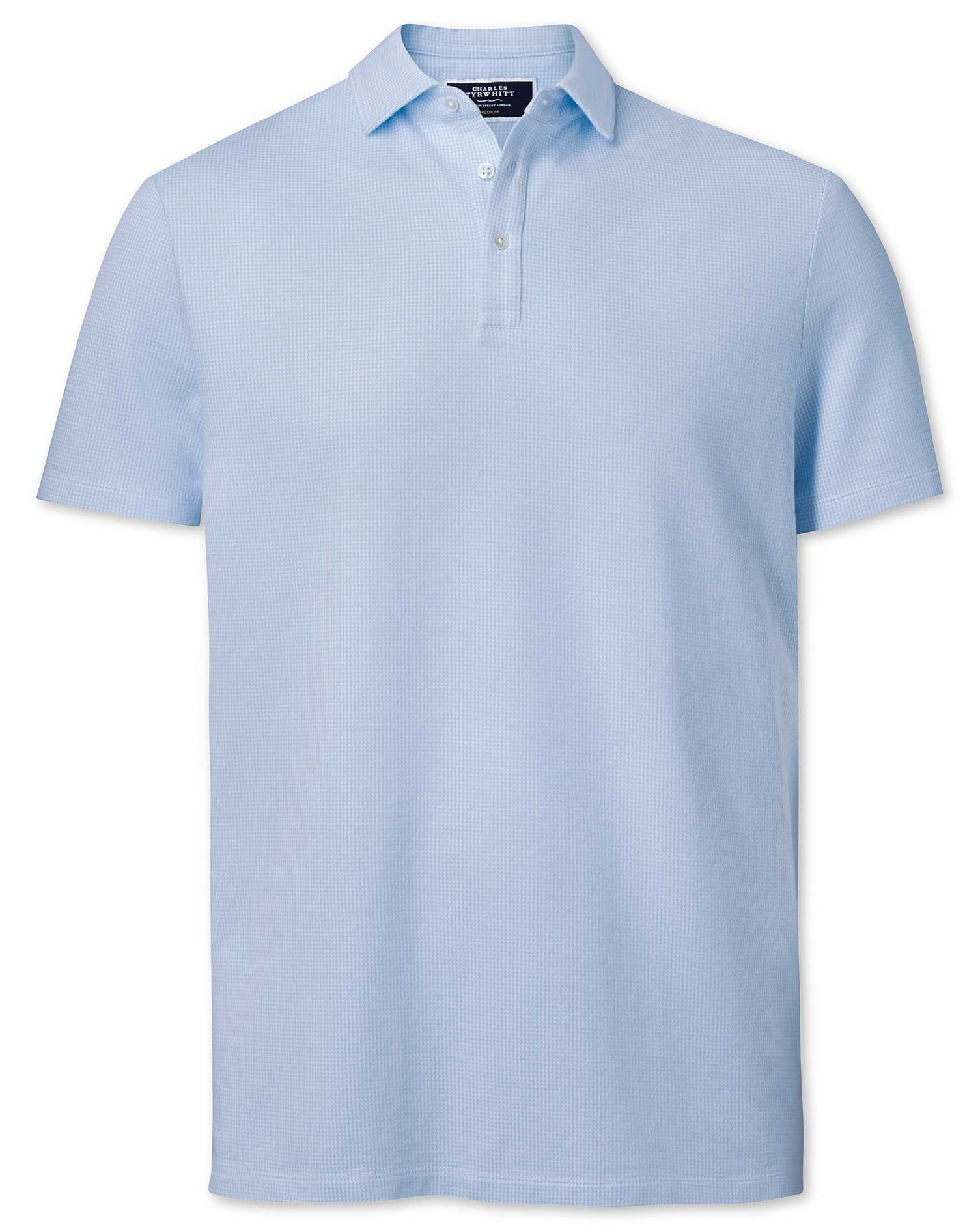 Sky Blue Puppytooth Textured Cotton Polo Size XXXL by Charles Tyrwhitt
