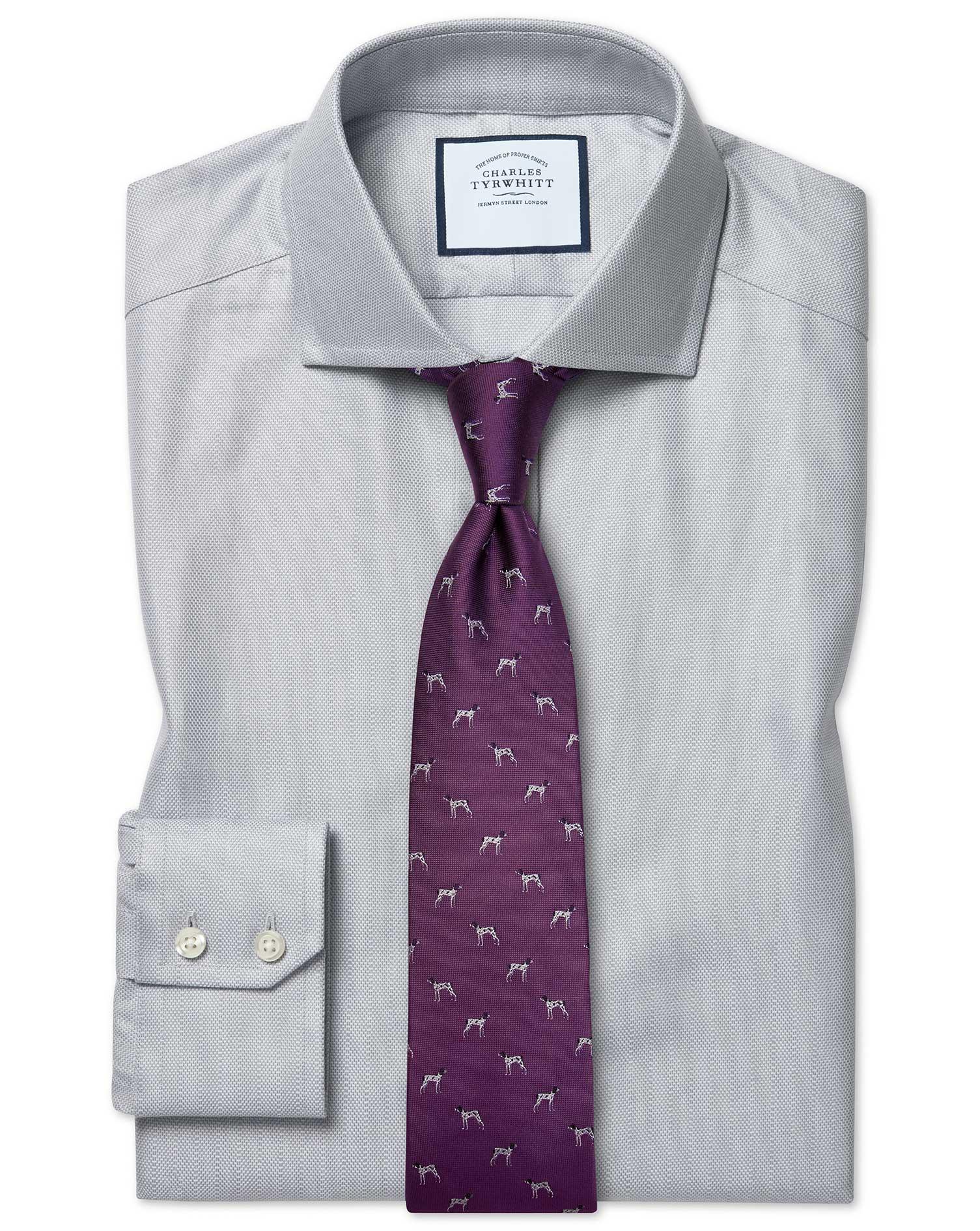 Slim Fit Cutaway Cotton Stretch With Tencel™ Grey Cotton Tencel Formal Shirt Single Cuff Size