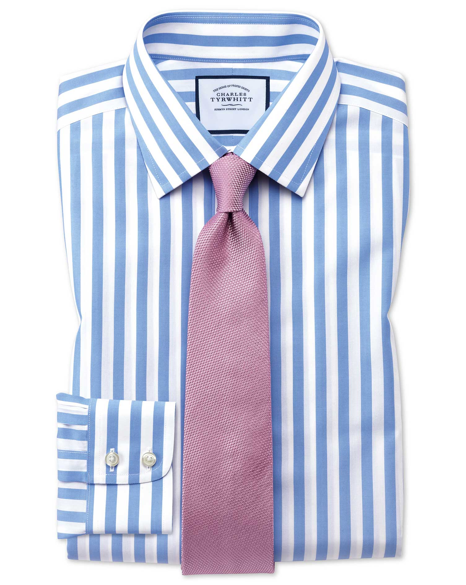 Extra Slim Fit Non-Iron Sky Blue Wide Bengal Stripe Cotton Formal Shirt Single Cuff Size 15/33 by Ch