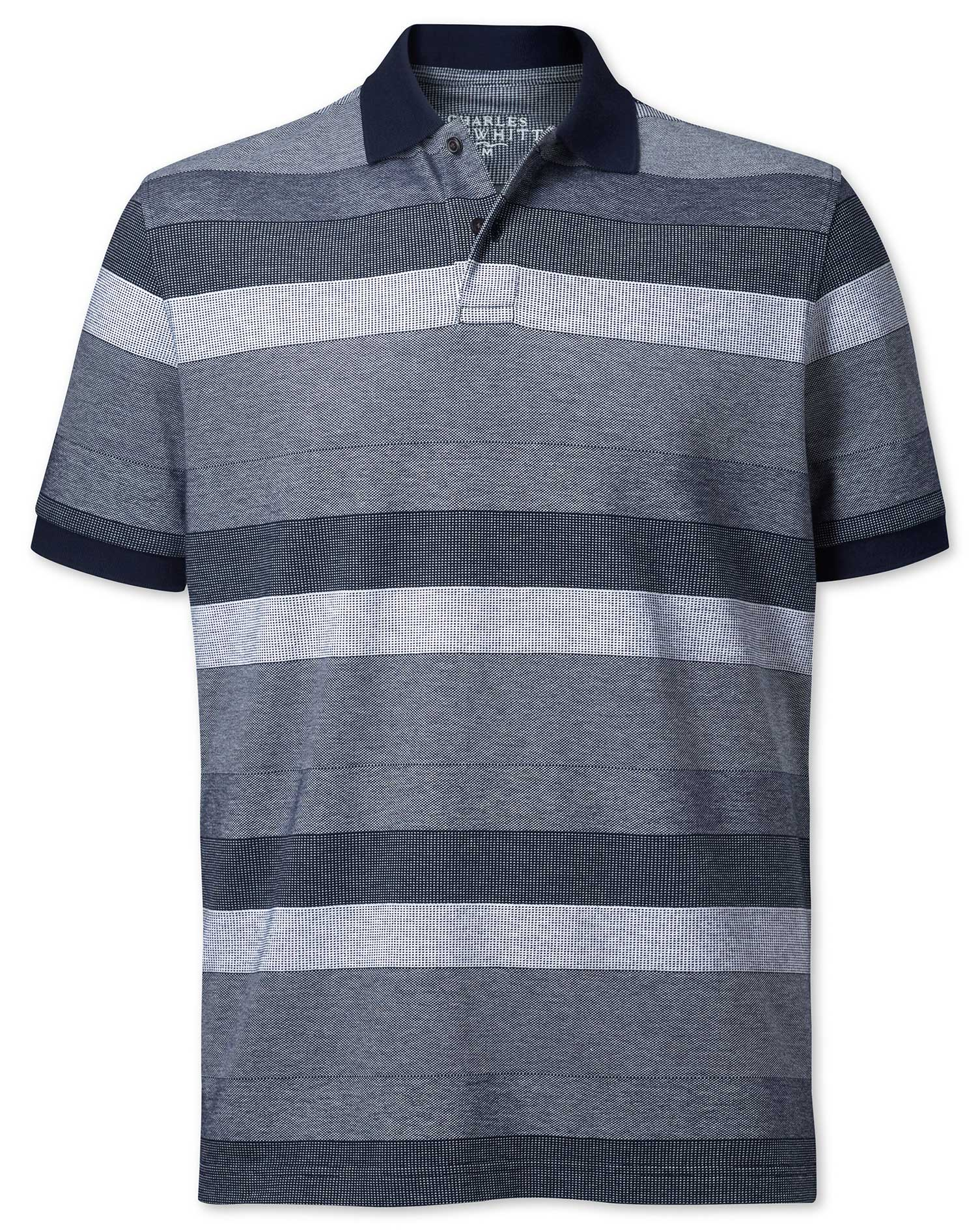 Navy and White Textured Stripe Cotton Polo Size XS by Charles Tyrwhitt