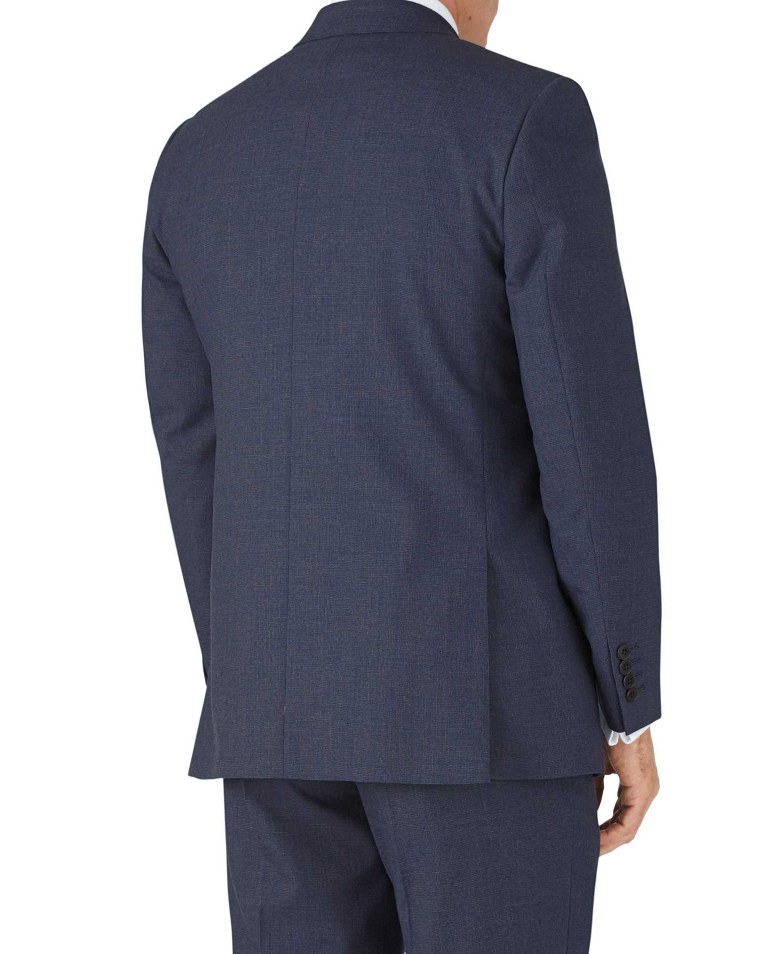 Airforce blue puppytooth classic fit Panama business suit jacket
