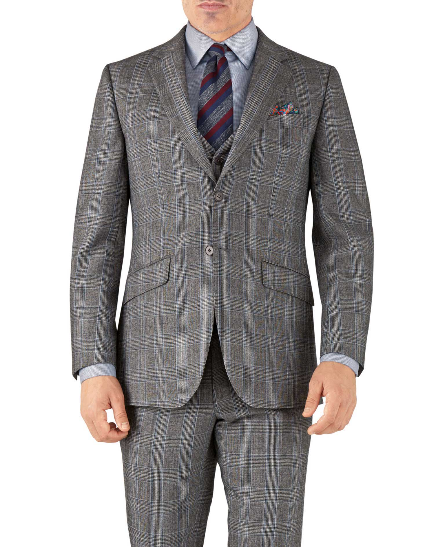 Silver Prince Of Wales Slim Fit Flannel Business Suit Wool Jacket Size 36 Short by Charles Tyrwhitt