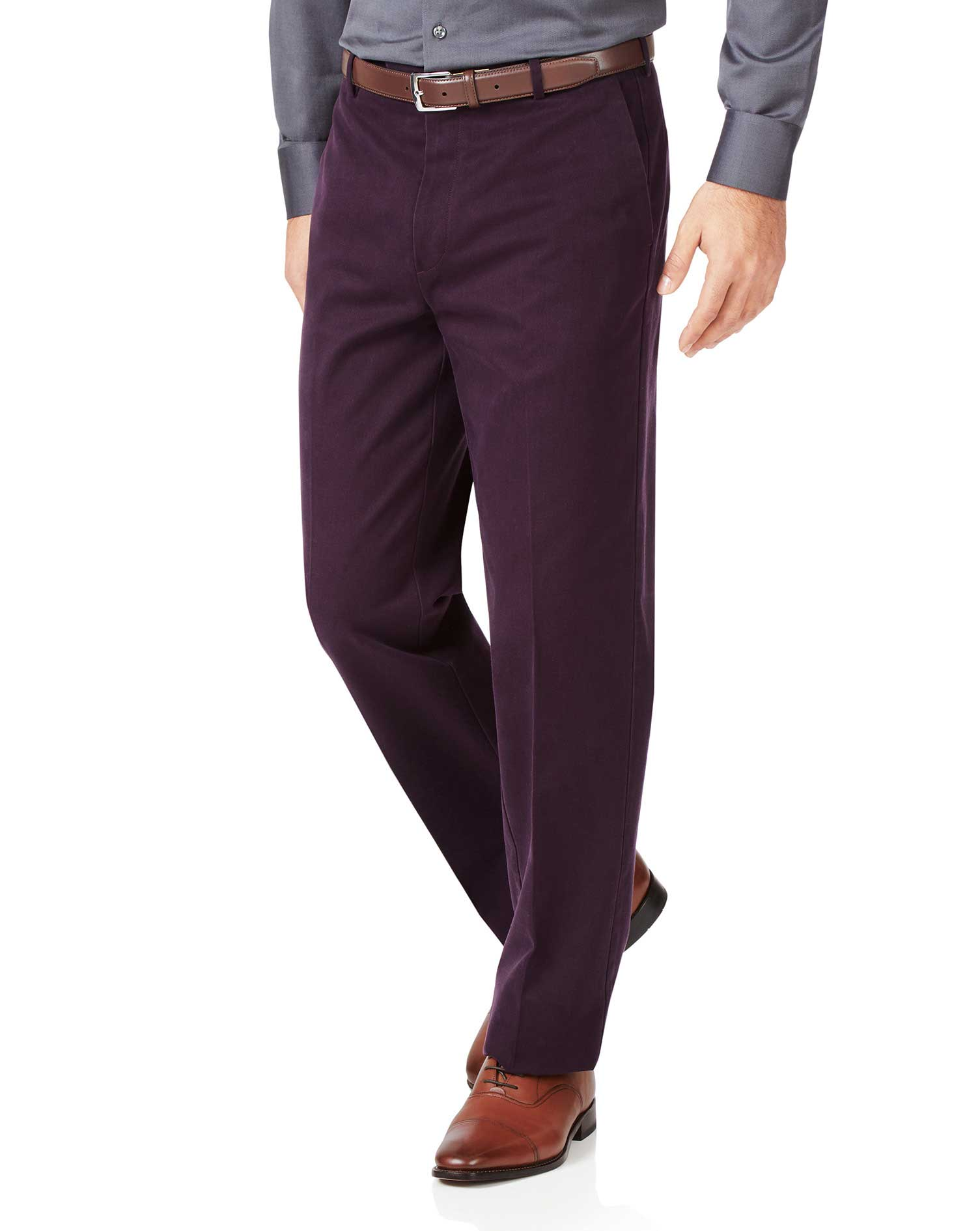 Aubergine Classic Fit Flat Front Non-Iron Cotton Chino Trousers Size W40 L32 by Charles Tyrwhitt