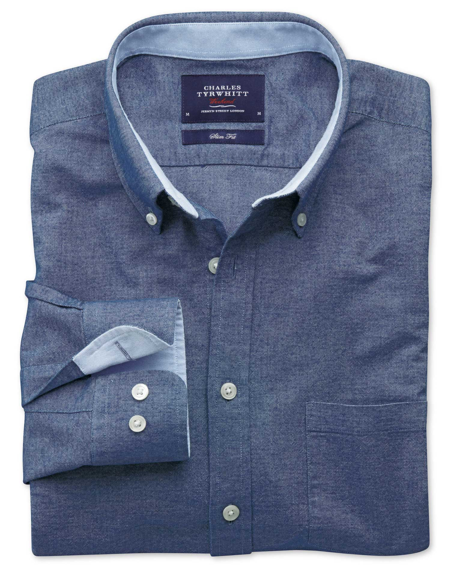 Classic Fit Denim Blue Washed Oxford Cotton Shirt Single Cuff Size Small by Charles Tyrwhitt