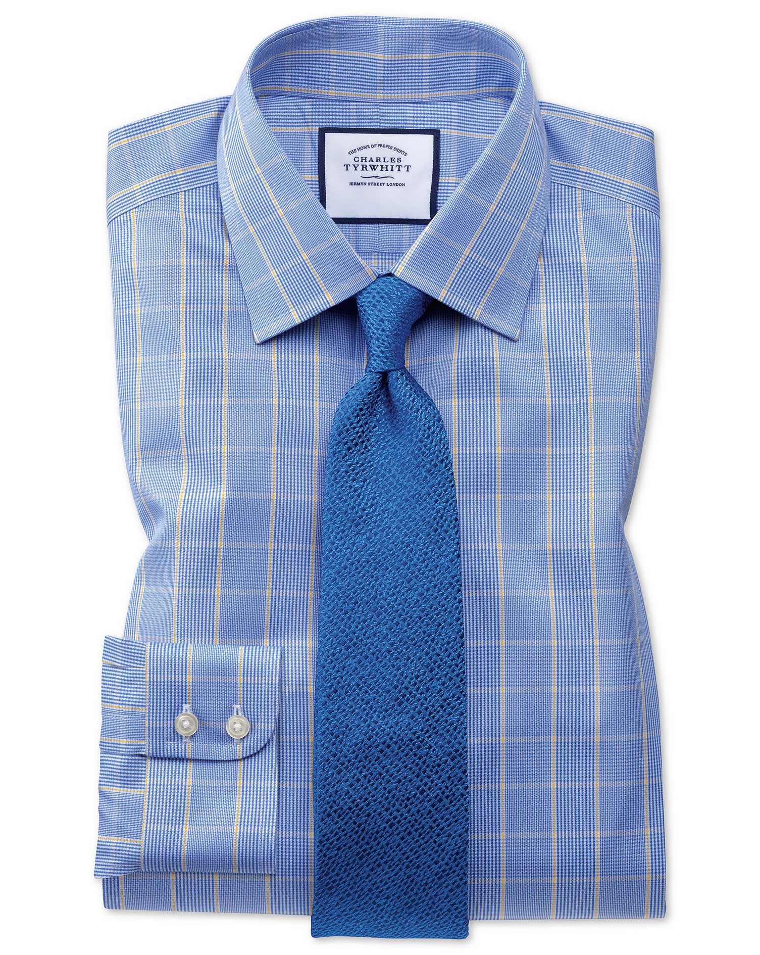 Slim Fit Non-Iron Prince Of Wales Blue and Gold Cotton Formal Shirt Single Cuff Size 16/34 by Charle