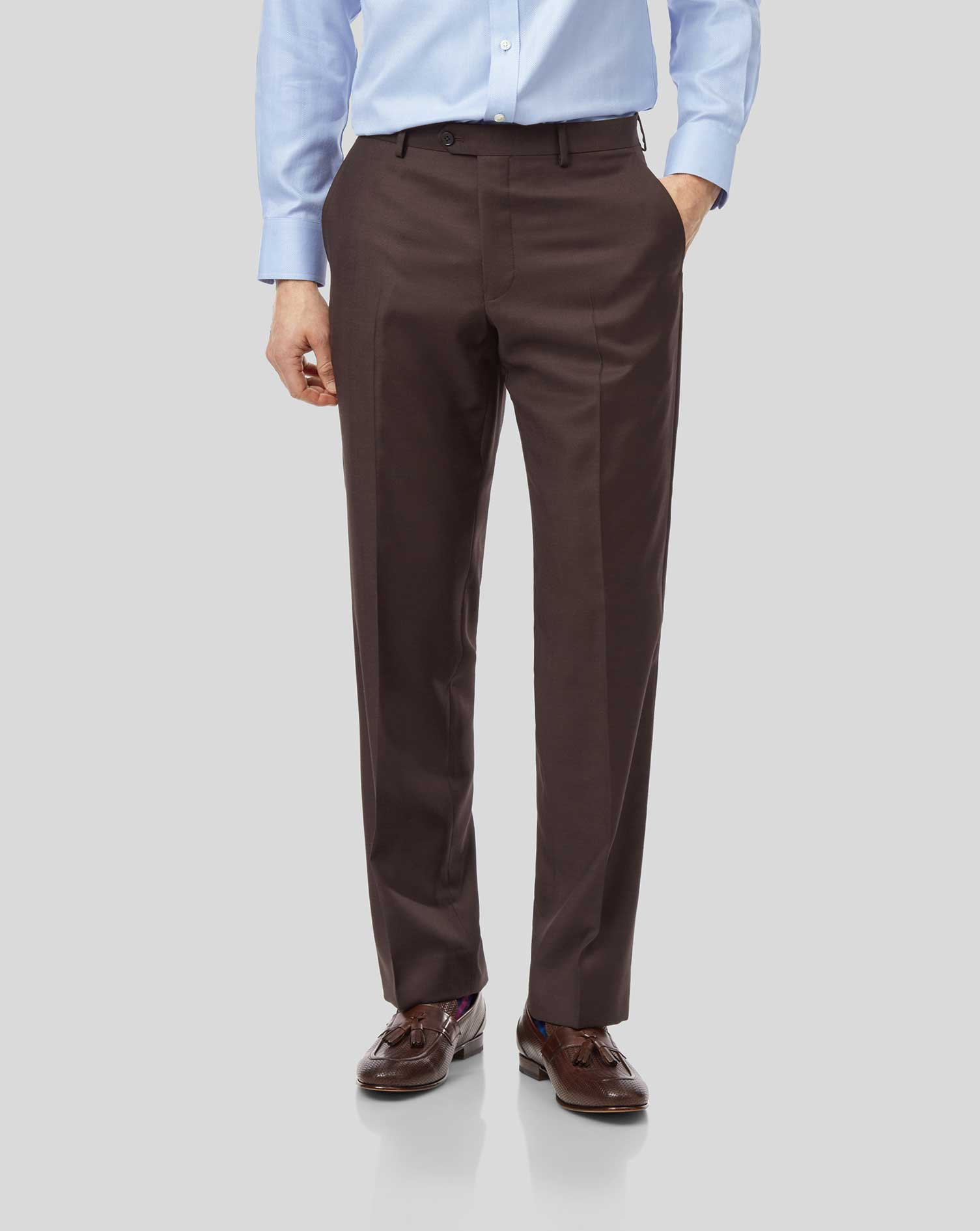 Brown Classic Fit Twill Business Suit Trousers Size W42 L32 by Charles Tyrwhitt