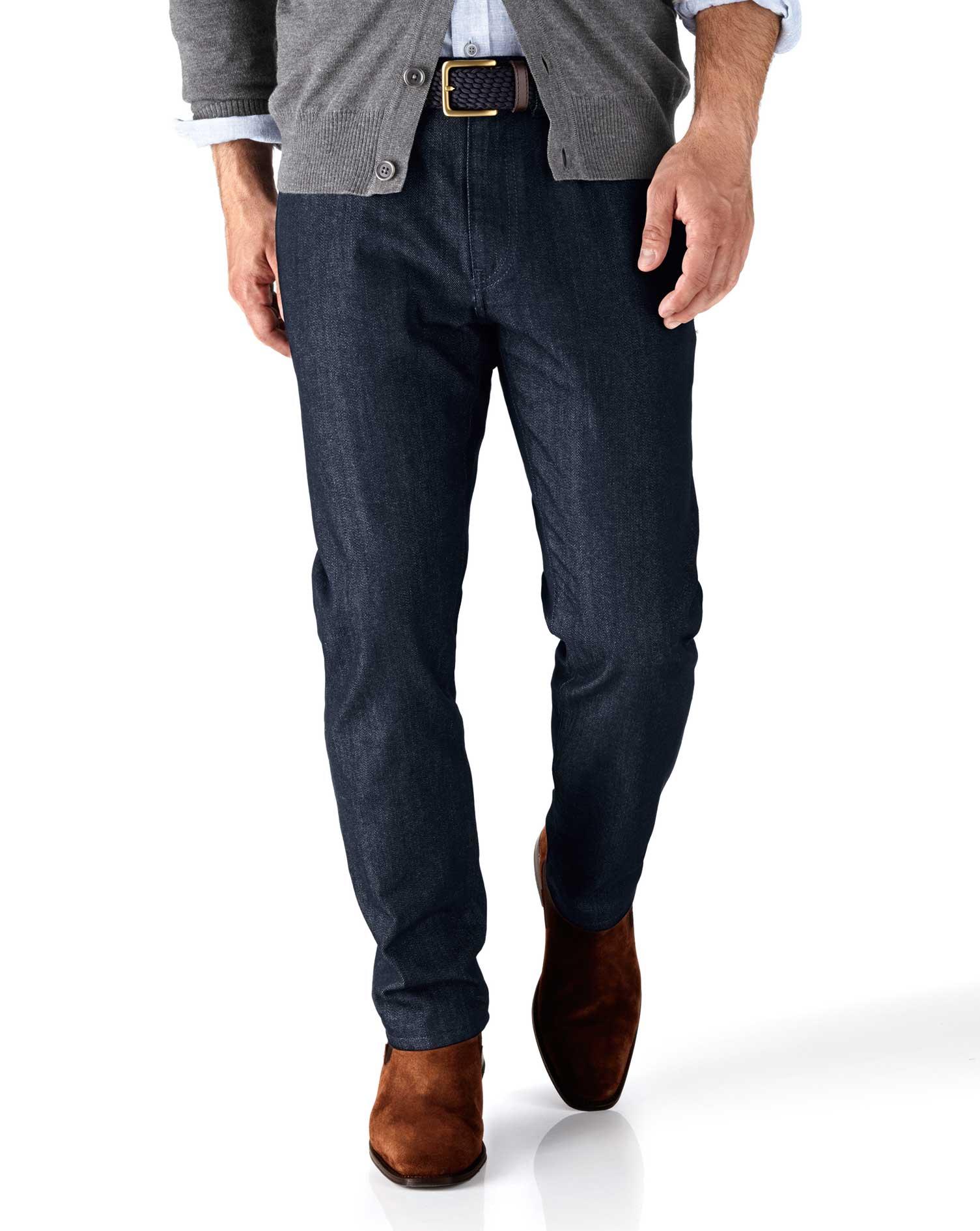 Dark Blue Slim Fit 5 Pocket Denim Jeans Size W34 L32 by Charles Tyrwhitt