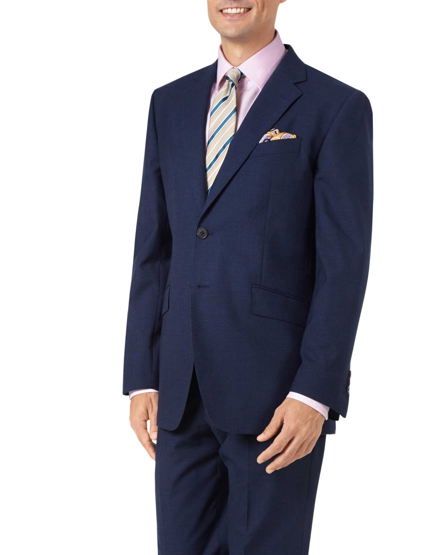 Indigo Blue Classic Fit Panama Puppytooth Business Suit Wool Jacket Size 44 Short by Charles Tyrwhit