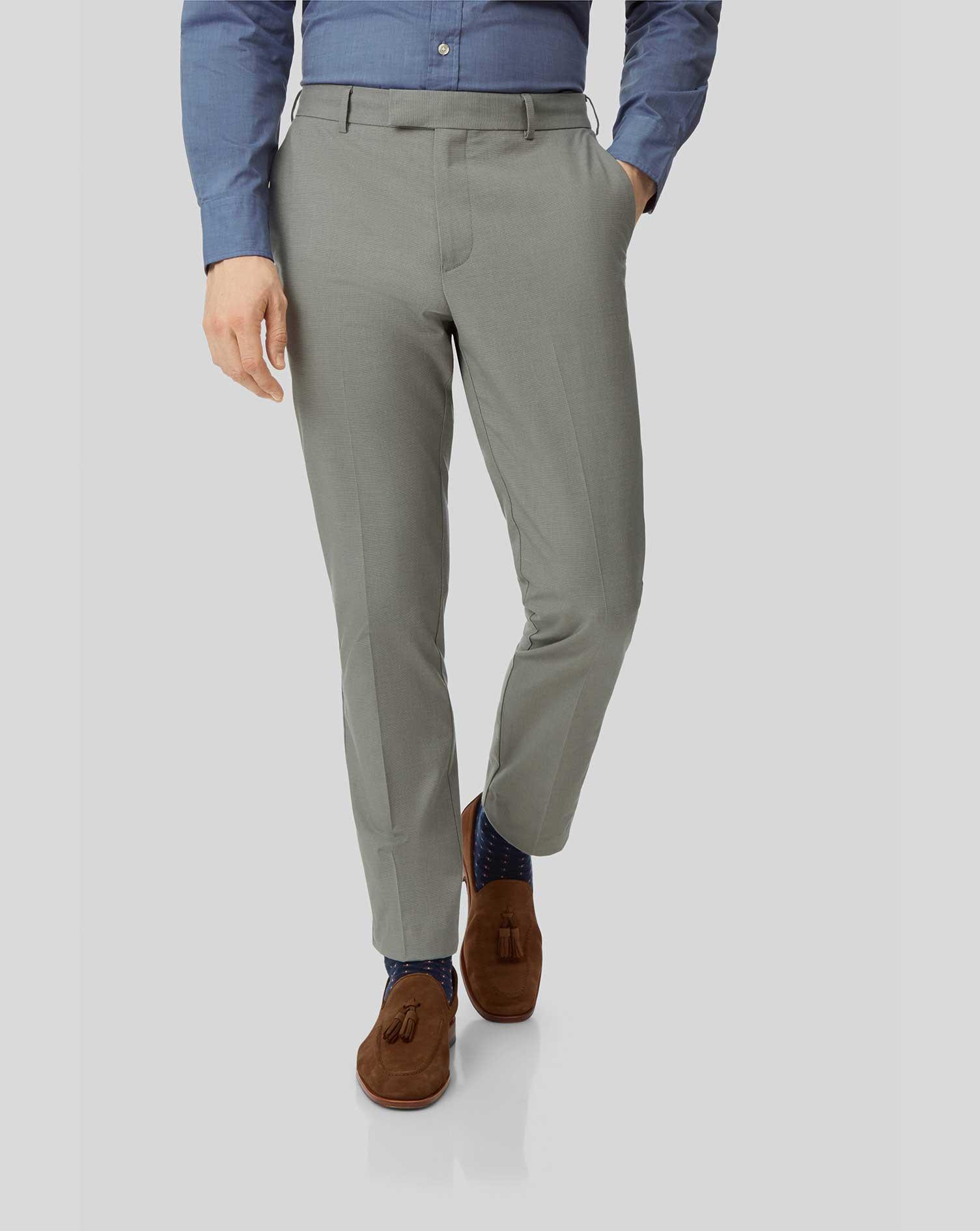 Cotton Non-Iron Stretch Trousers - Green