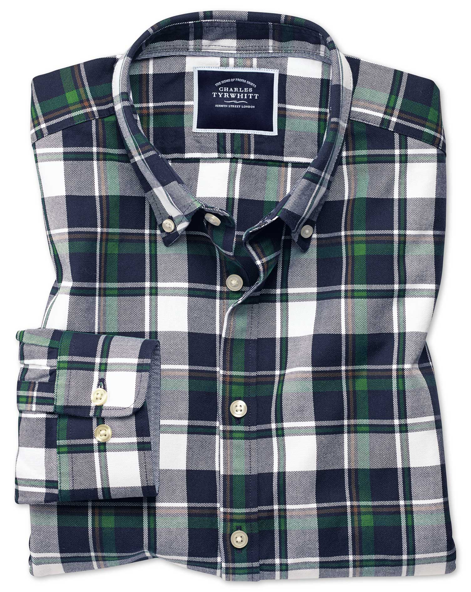 241a3f1e9 Extra slim fit navy and green large check washed Oxford shirt ...