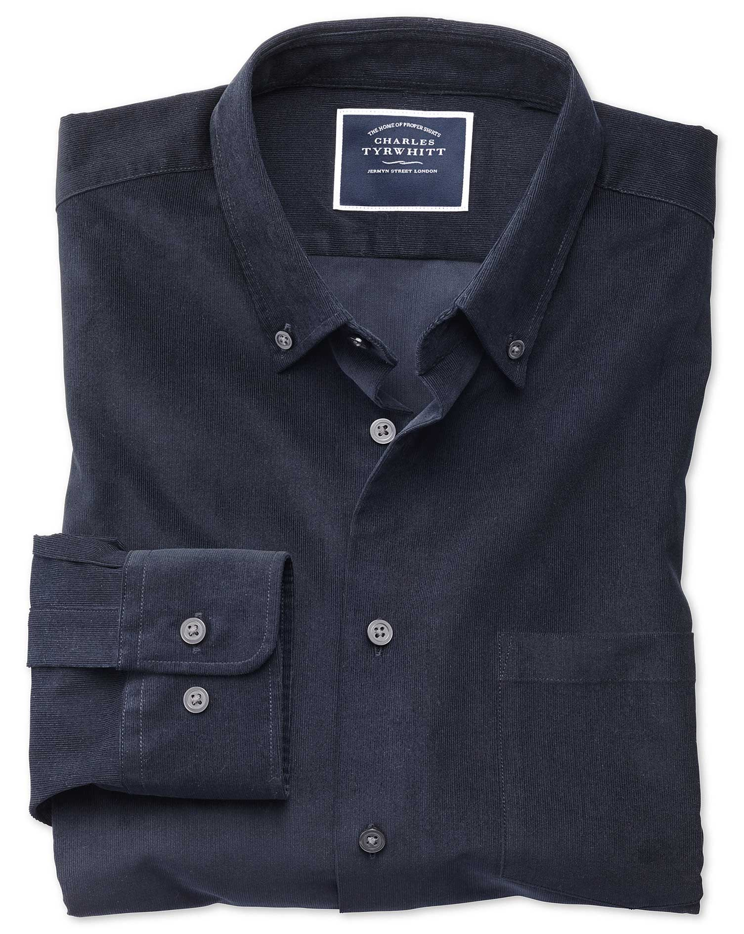 Classic Fit Plain Navy Fine Corduroy Cotton Shirt Single Cuff Size Small by Charles Tyrwhitt