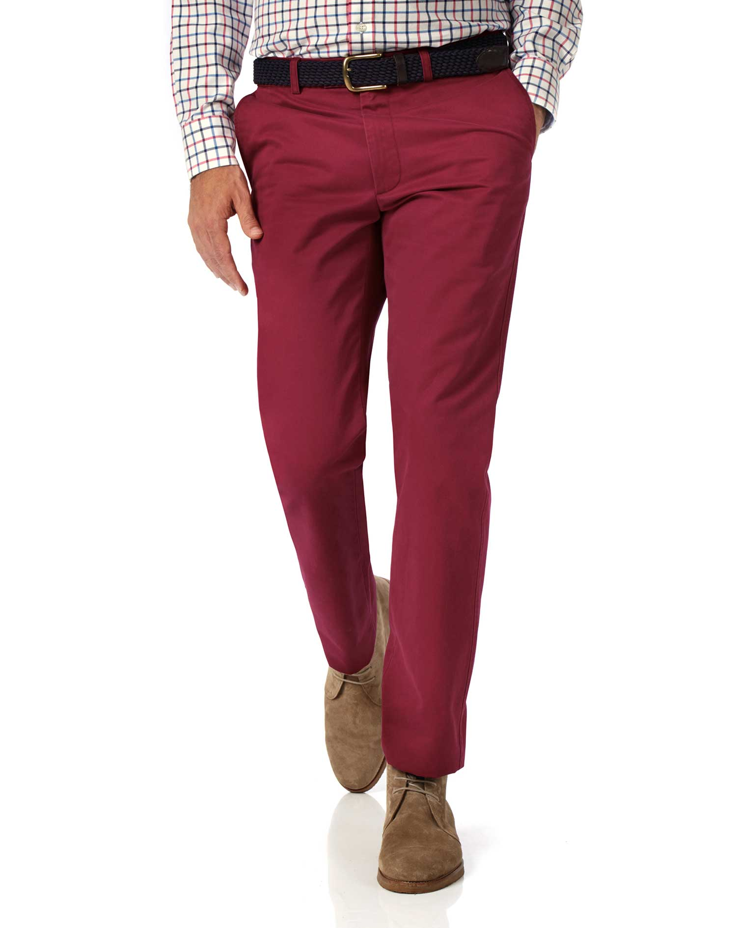 Red Slim Fit Flat Front Washed Cotton Chino Trousers Size W38 L32 by Charles Tyrwhitt