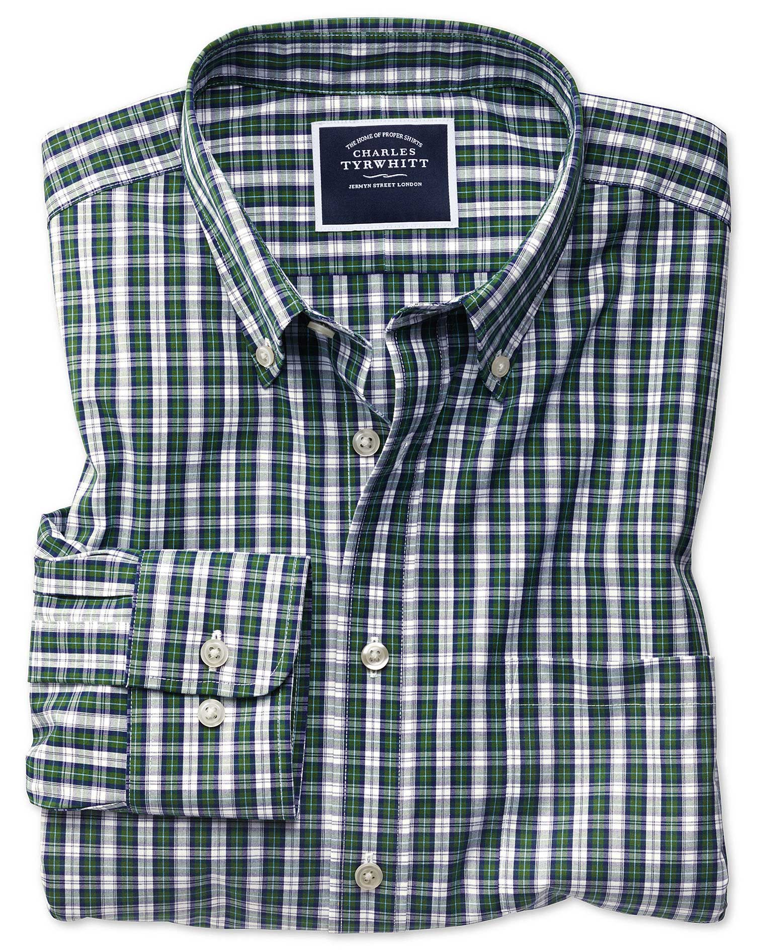 Classic Fit Non-Iron Green and Navy Tartan Check Cotton Shirt Single Cuff Size XXXL by Charles Tyrwh