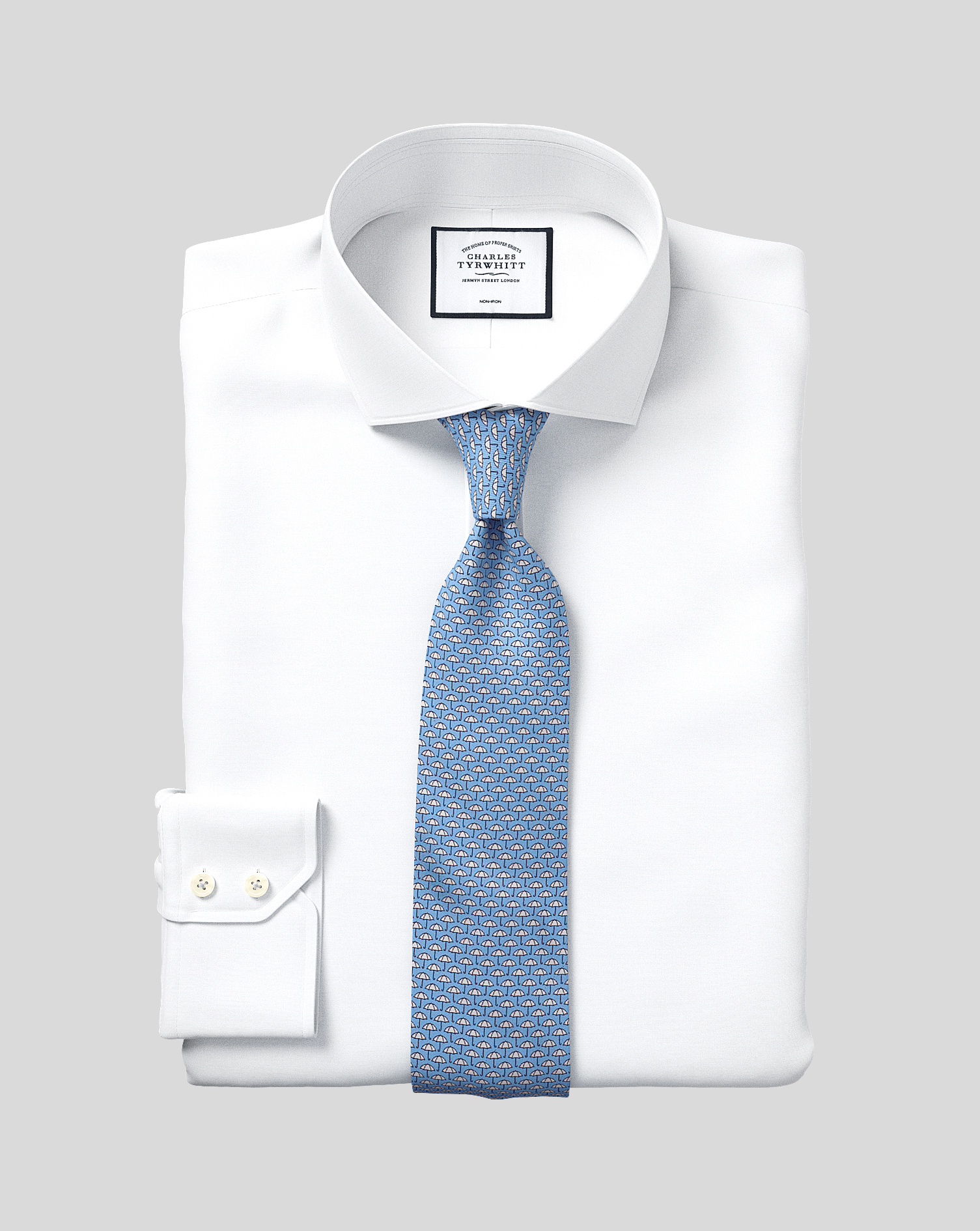 Slim Fit Non-Iron Cutaway White Tyrwhitt Cool Cotton Formal Shirt Single Cuff Size 15/33 by Charles