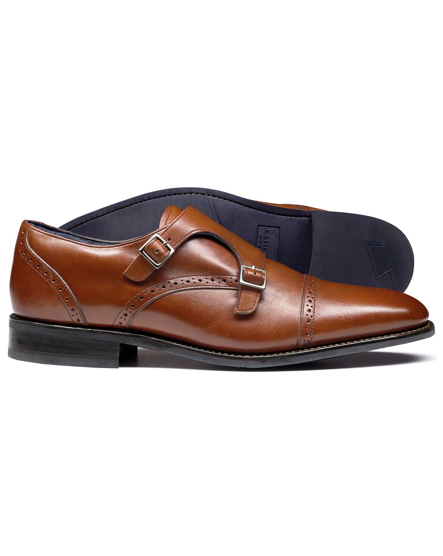 Tan Goodyear Welted Double Buckle Monk Performance Shoe Size 8 R by Charles Tyrwhitt