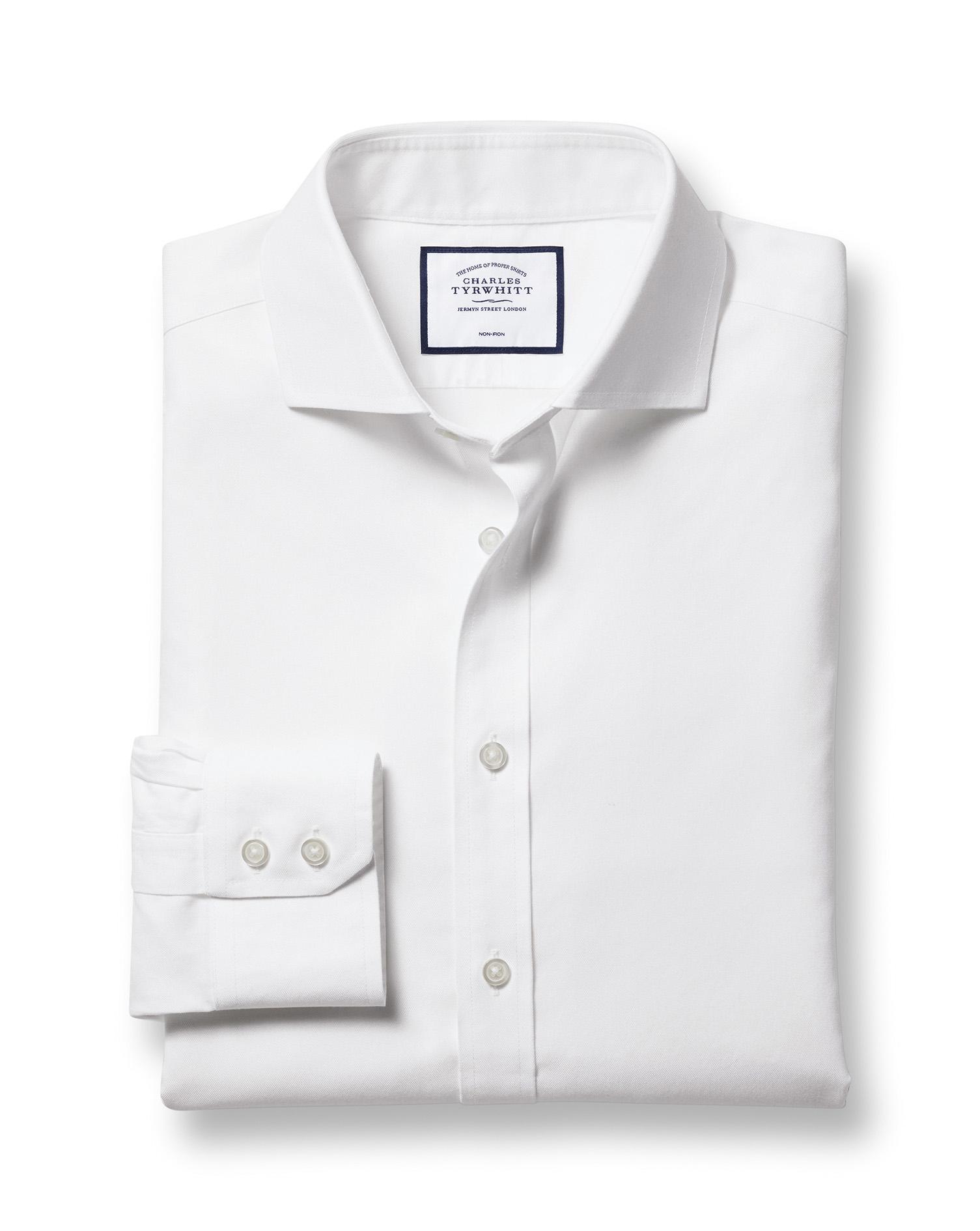 Slim fit spread collar non iron twill white shirt for Slim fit non iron shirts