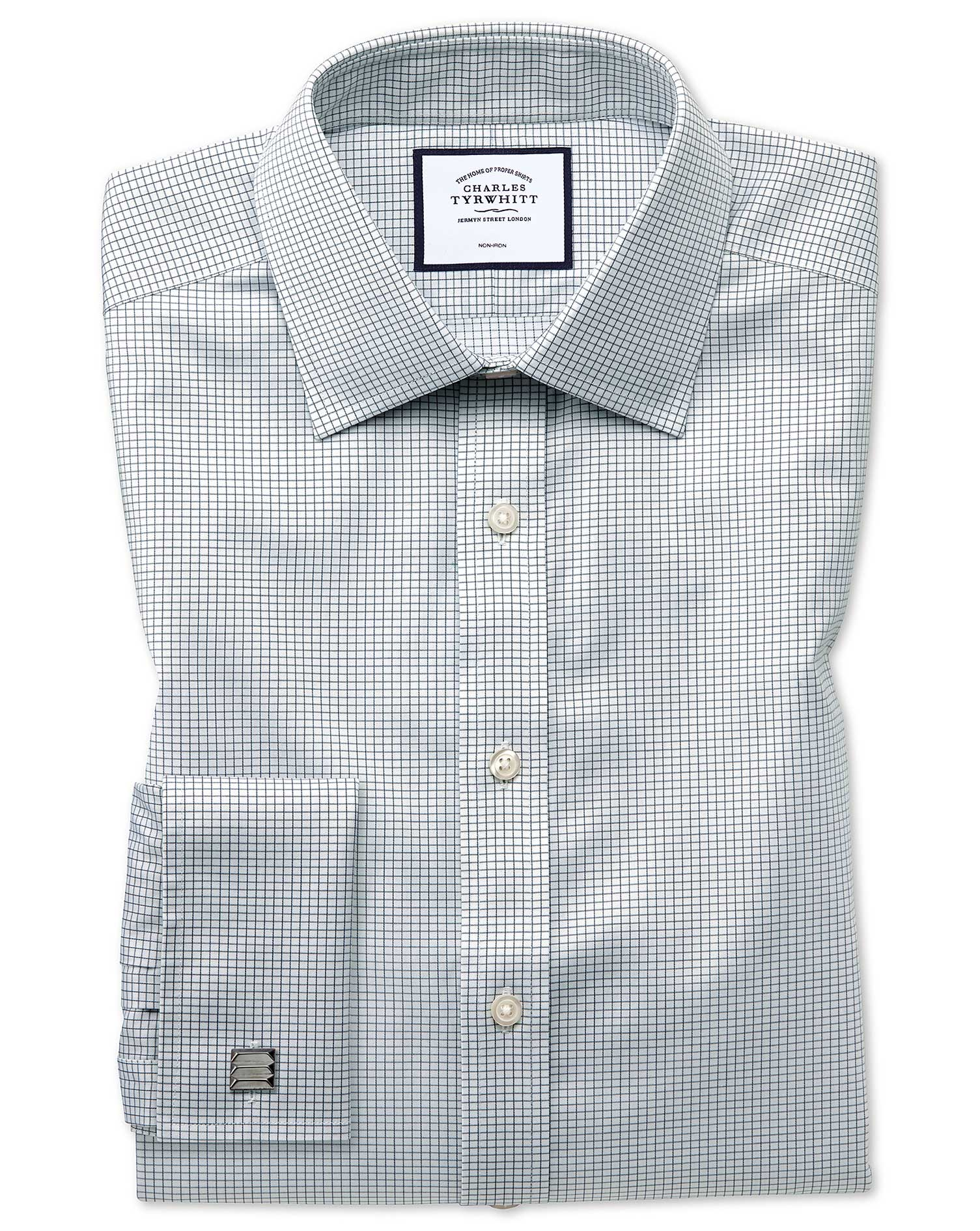 Slim Fit Non-Iron Twill Mini Grid Check Grey Cotton Formal Shirt Single Cuff Size 16.5/33 by Charles