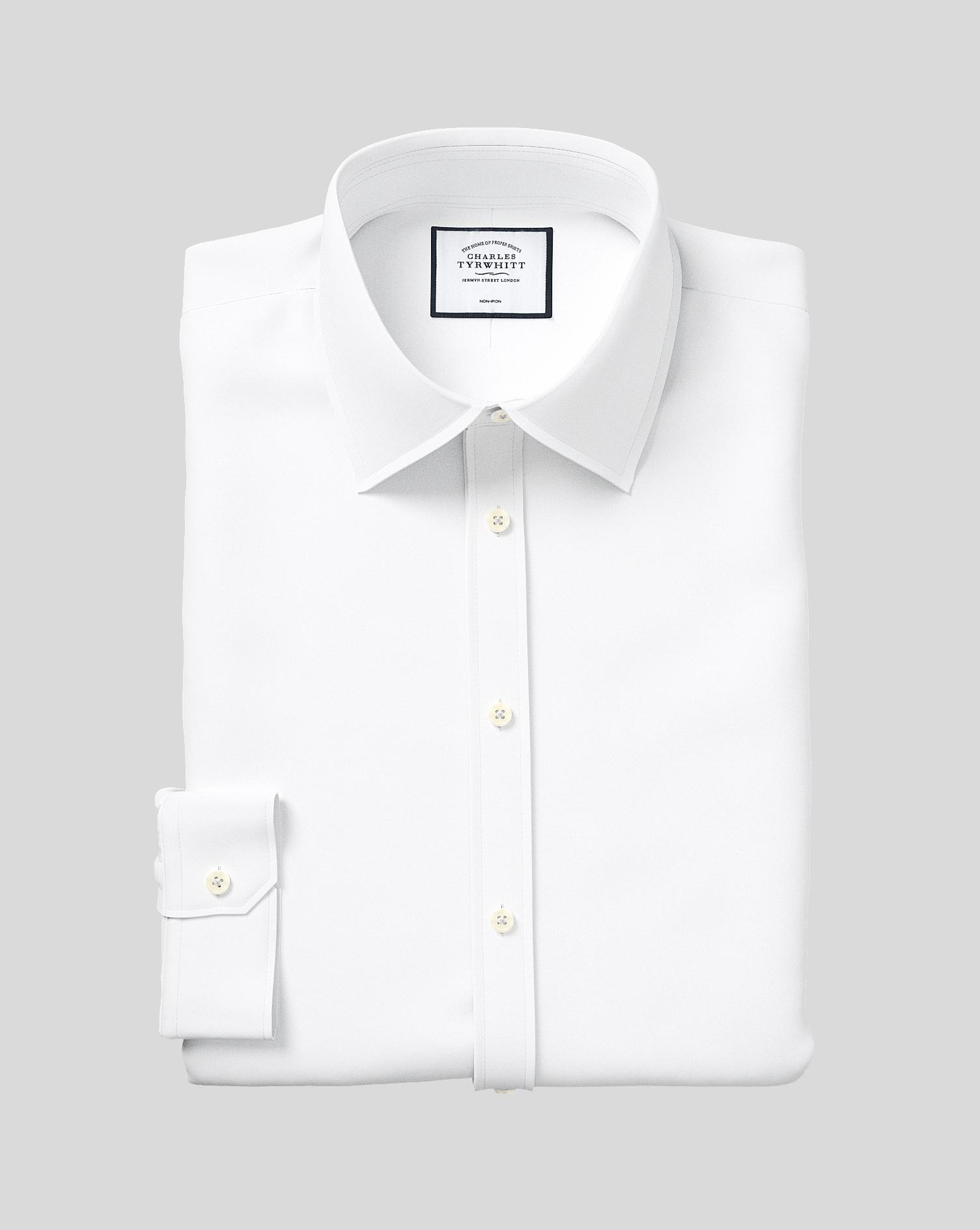 Cotton Super Slim Fit Non-Iron Twill White Shirt