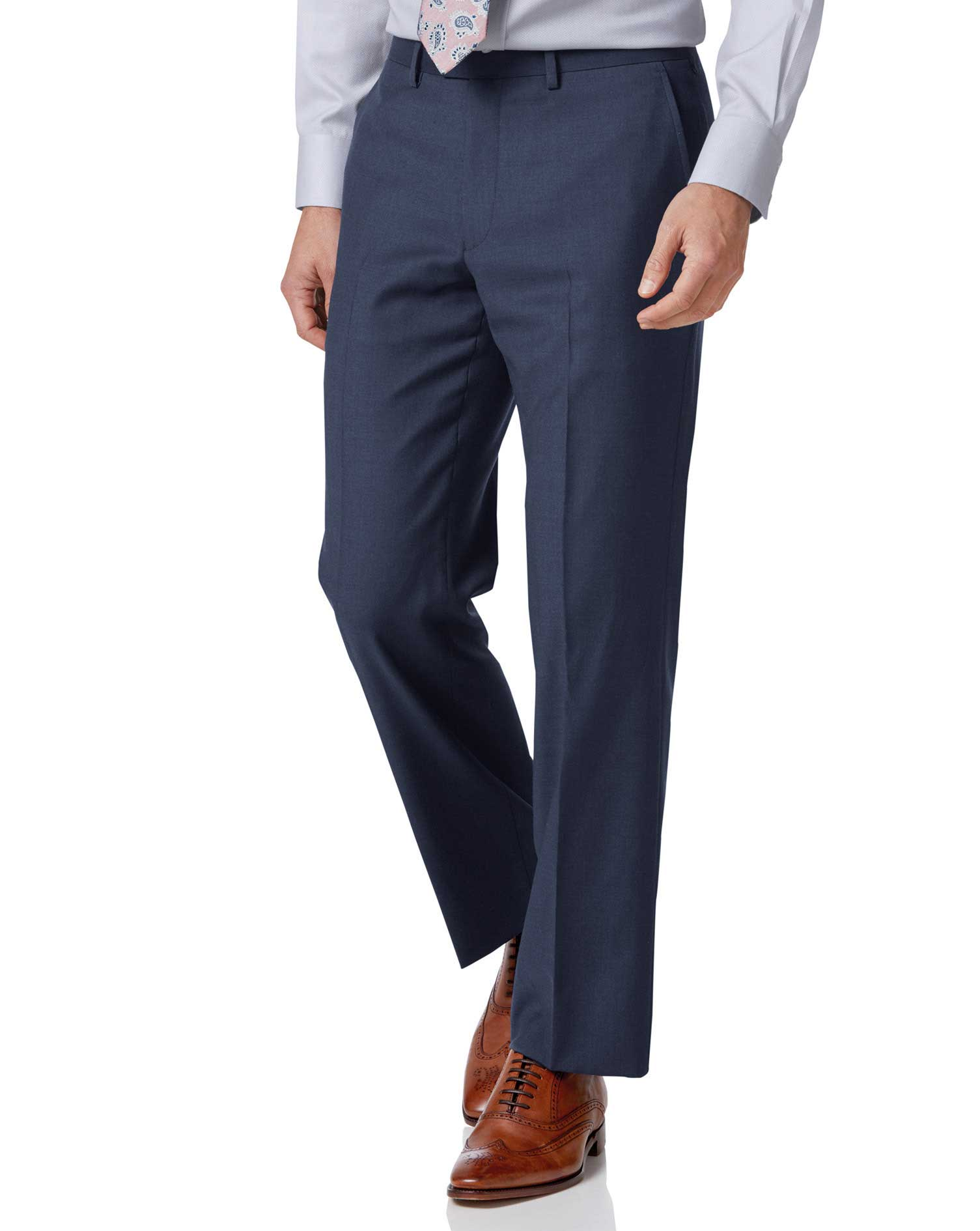 Wool Mid Blue Classic Fit Twill Business Suit Trousers