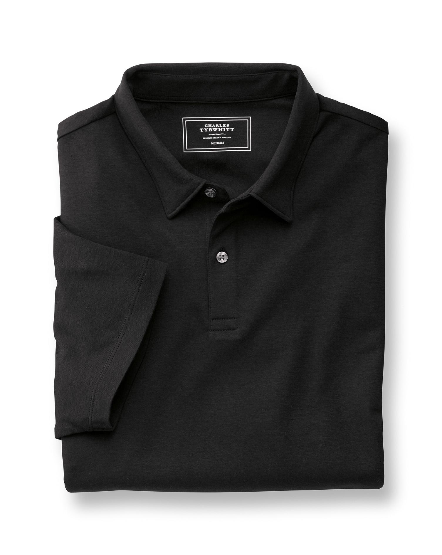 Plain Black Jersey Cotton Polo Size XXXL by Charles Tyrwhitt