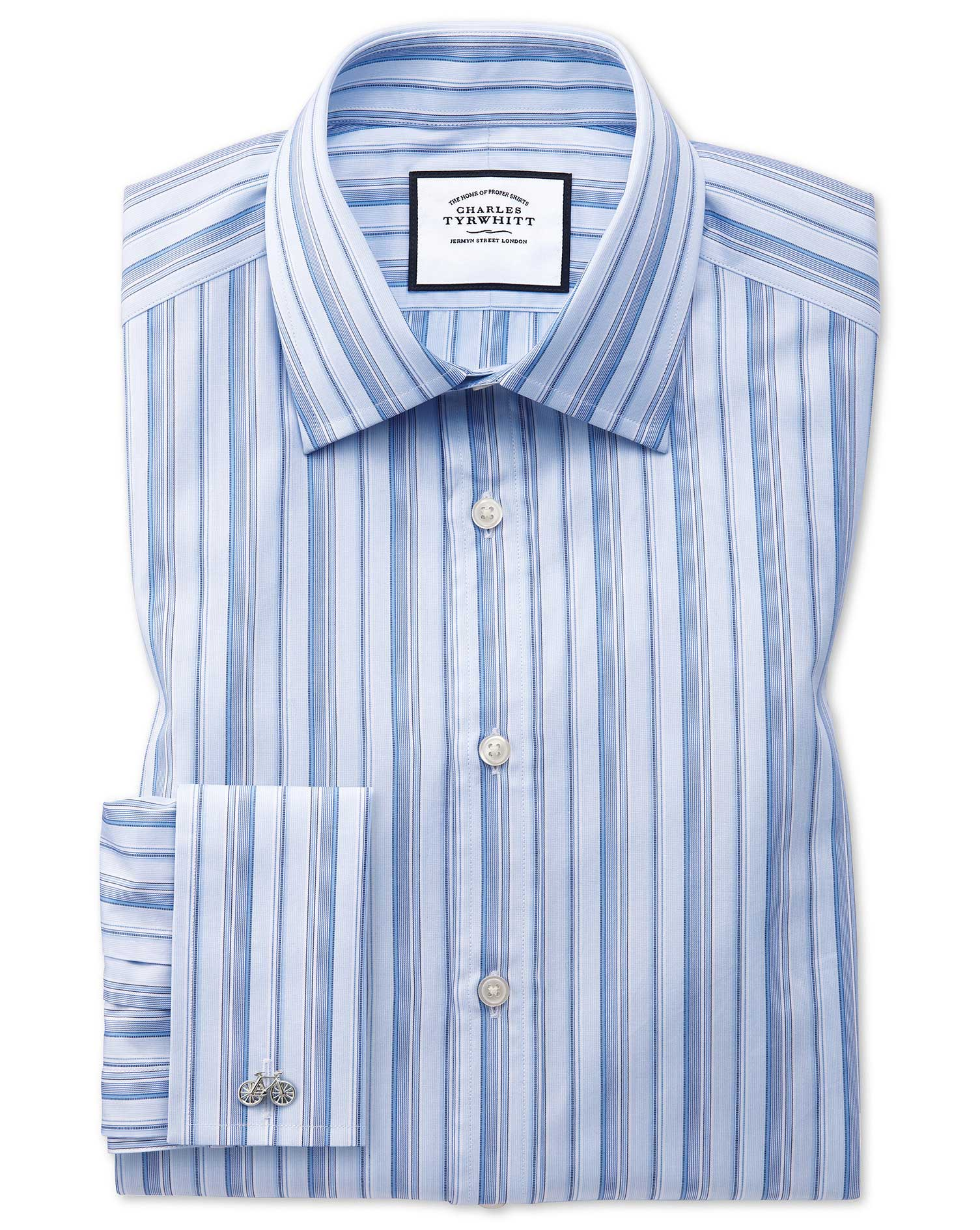 Extra Slim Fit Sky Blue Multi Stripe Egyptian Cotton Formal Shirt Single Cuff Size 14.5/33 by Charle
