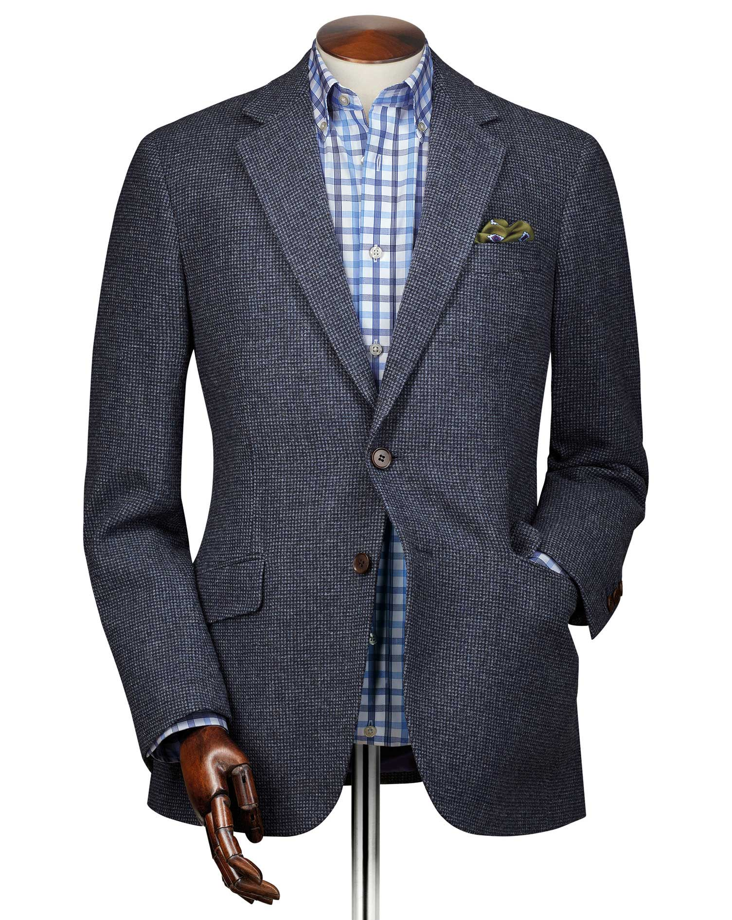 Classic Fit Blue Puppytooth Wool Jacket Size 42 Long by Charles Tyrwhitt