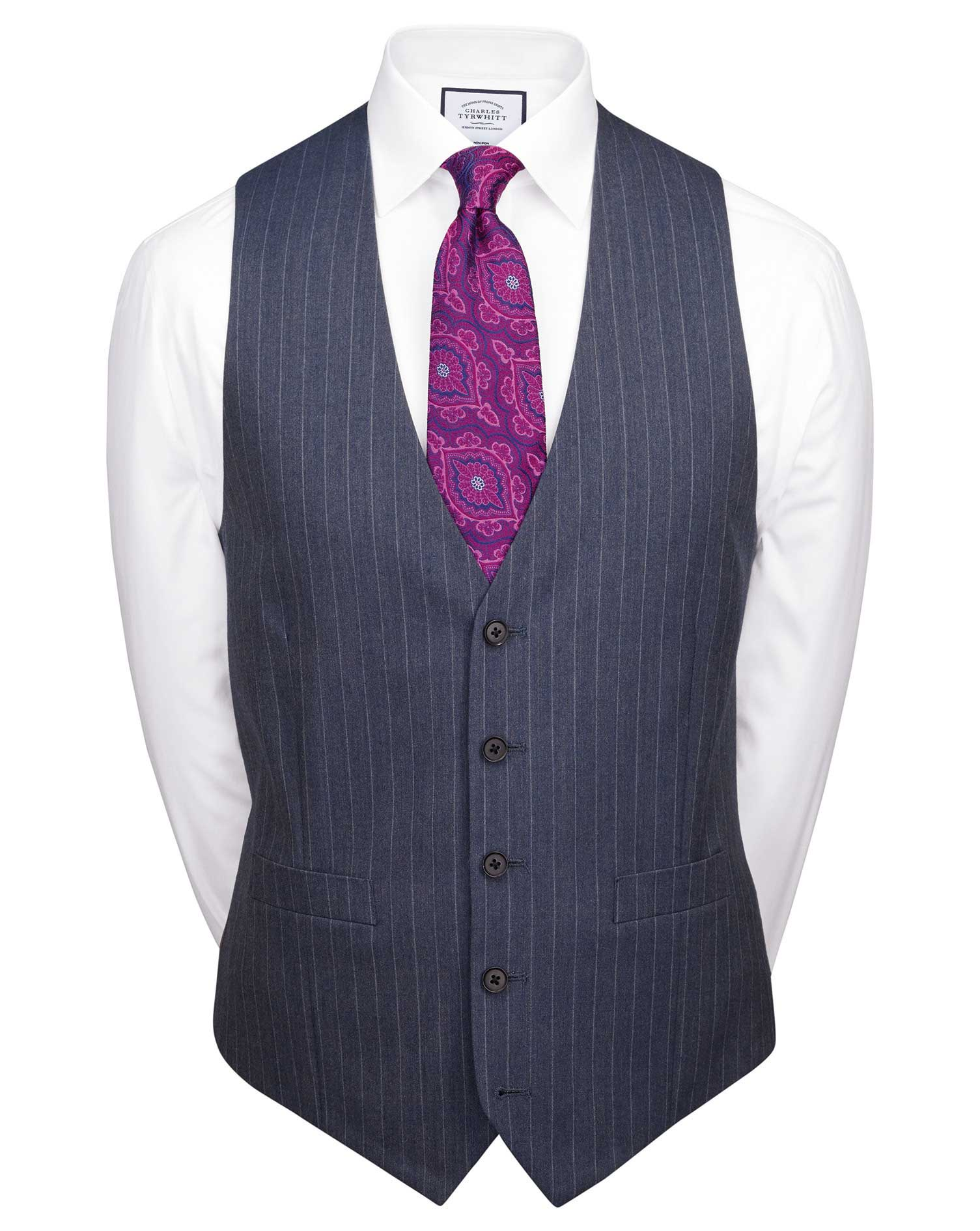 Image of Charles Tyrwhitt Airforce Stripe Slim Fit Panama Business Suit Wool Waistcoat Size w36 by Charles Tyrwhitt