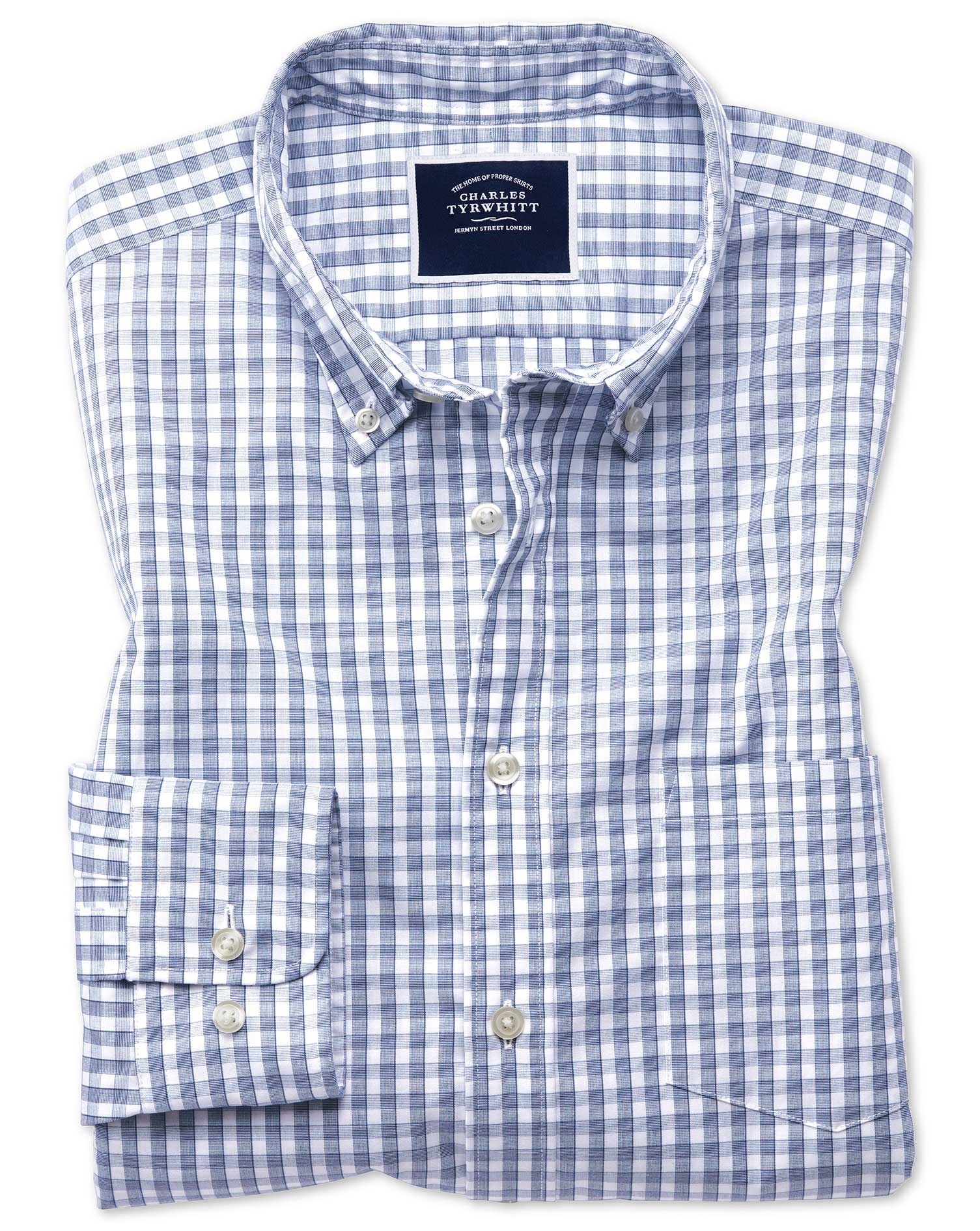 Classic Fit Navy Gingham Soft Washed Non-Iron Tyrwhitt Cool Cotton Shirt Single Cuff Size Large by C