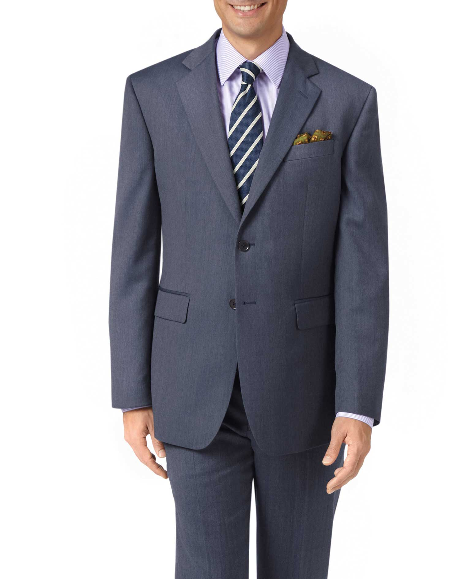 Light Blue Classic Fit Twill Business Suit Wool Jacket Size 40 Short by Charles Tyrwhitt