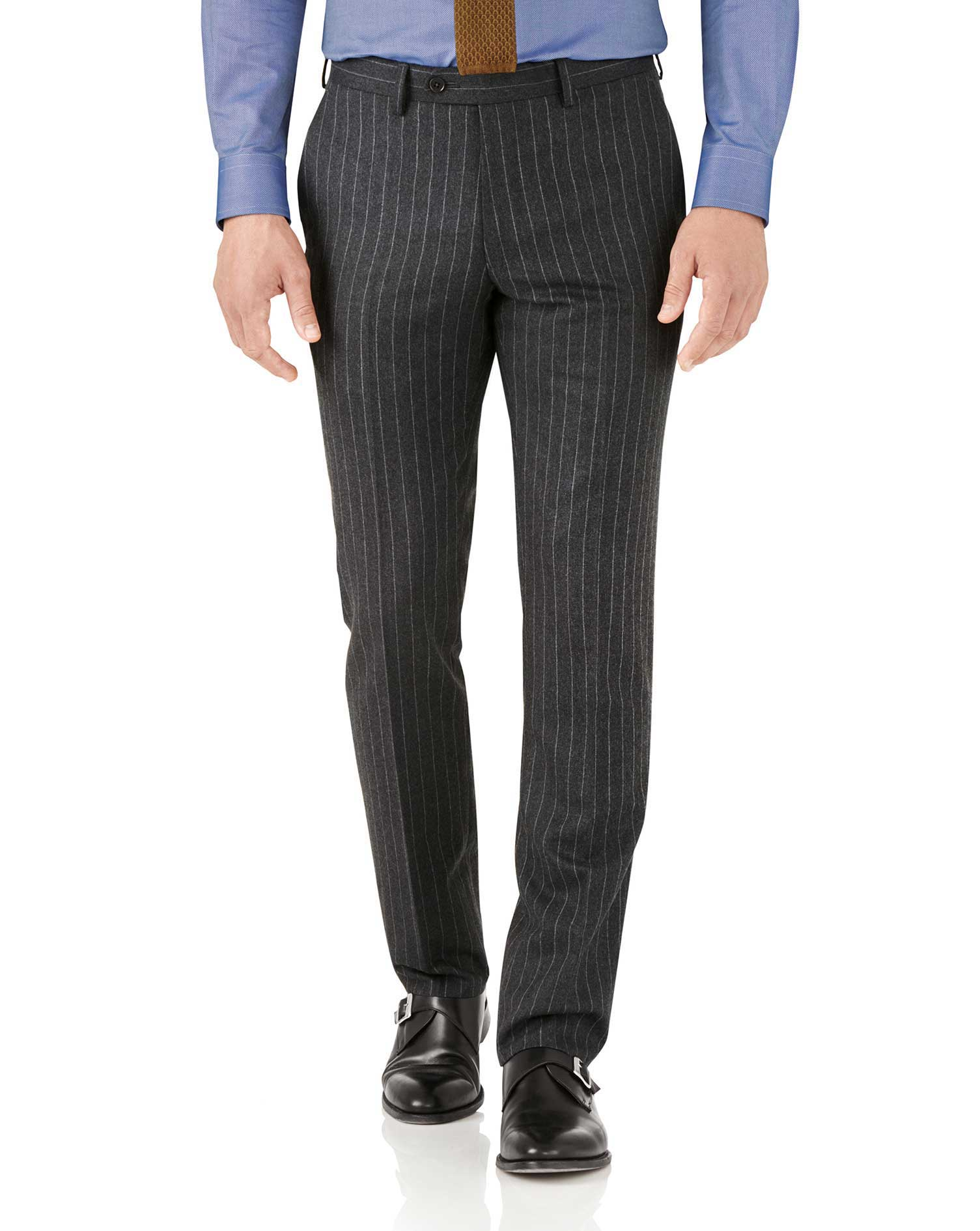 Charcoal Stripe Slim Fit Flannel Business Suit Trousers Size W38 L38 by Charles Tyrwhitt