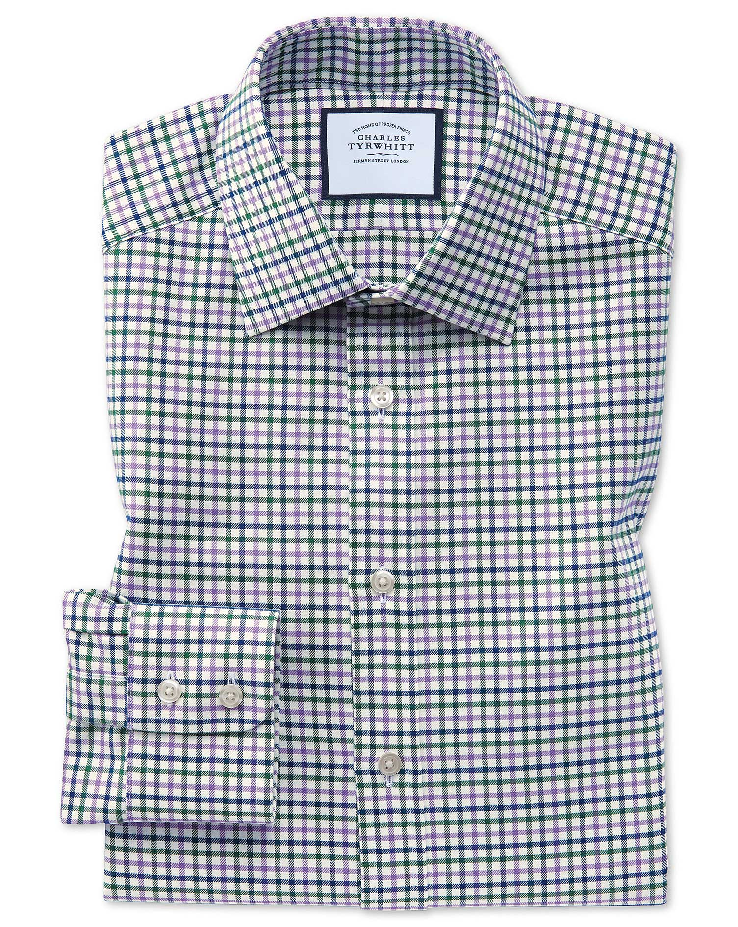 Classic Fit Purple and Green Country Check Cotton Formal Shirt Single Cuff Size 17.5/36 by Charles T