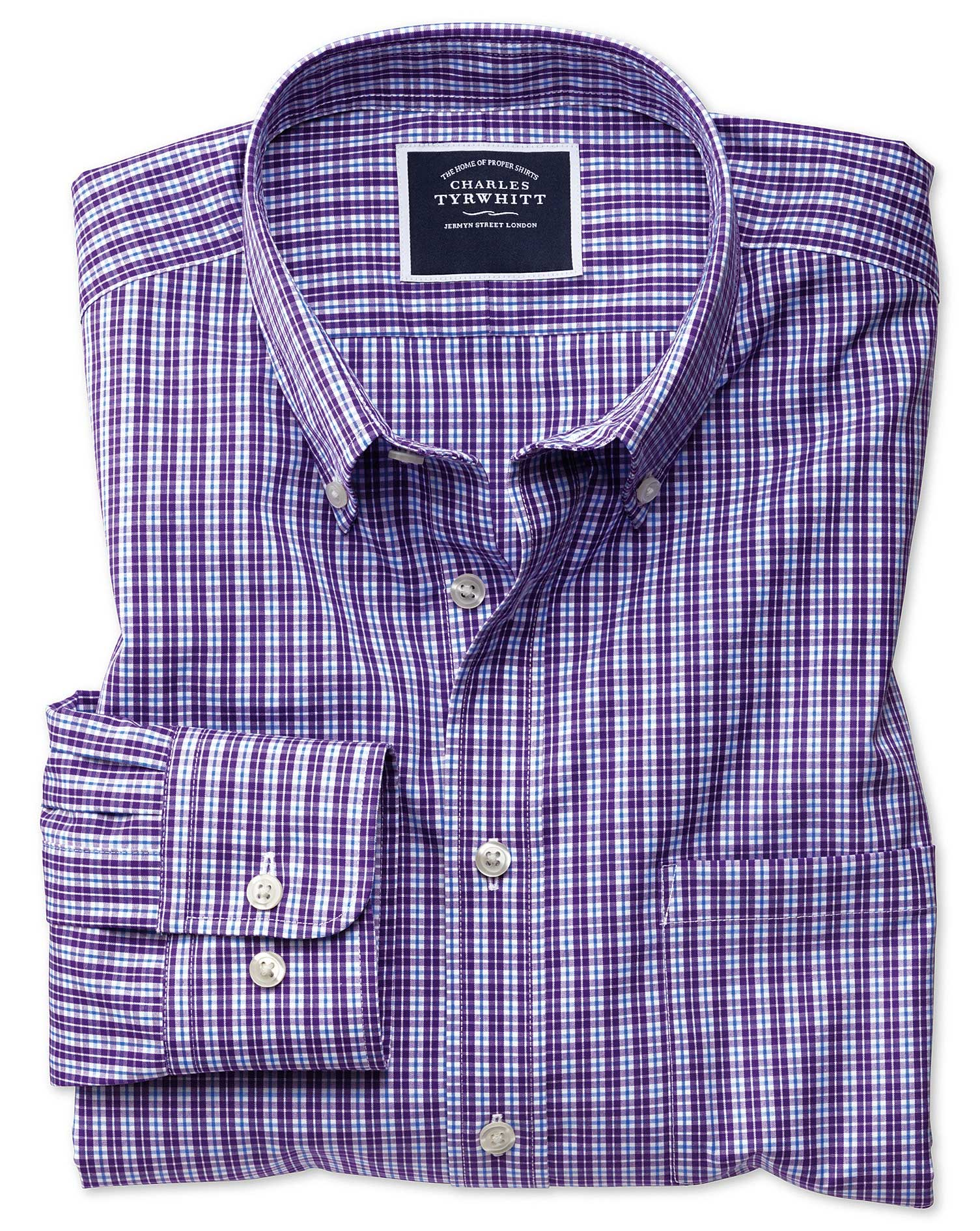 Extra Slim Fit Non-Iron Purple Gingham Cotton Shirt Single Cuff Size Medium by Charles Tyrwhitt