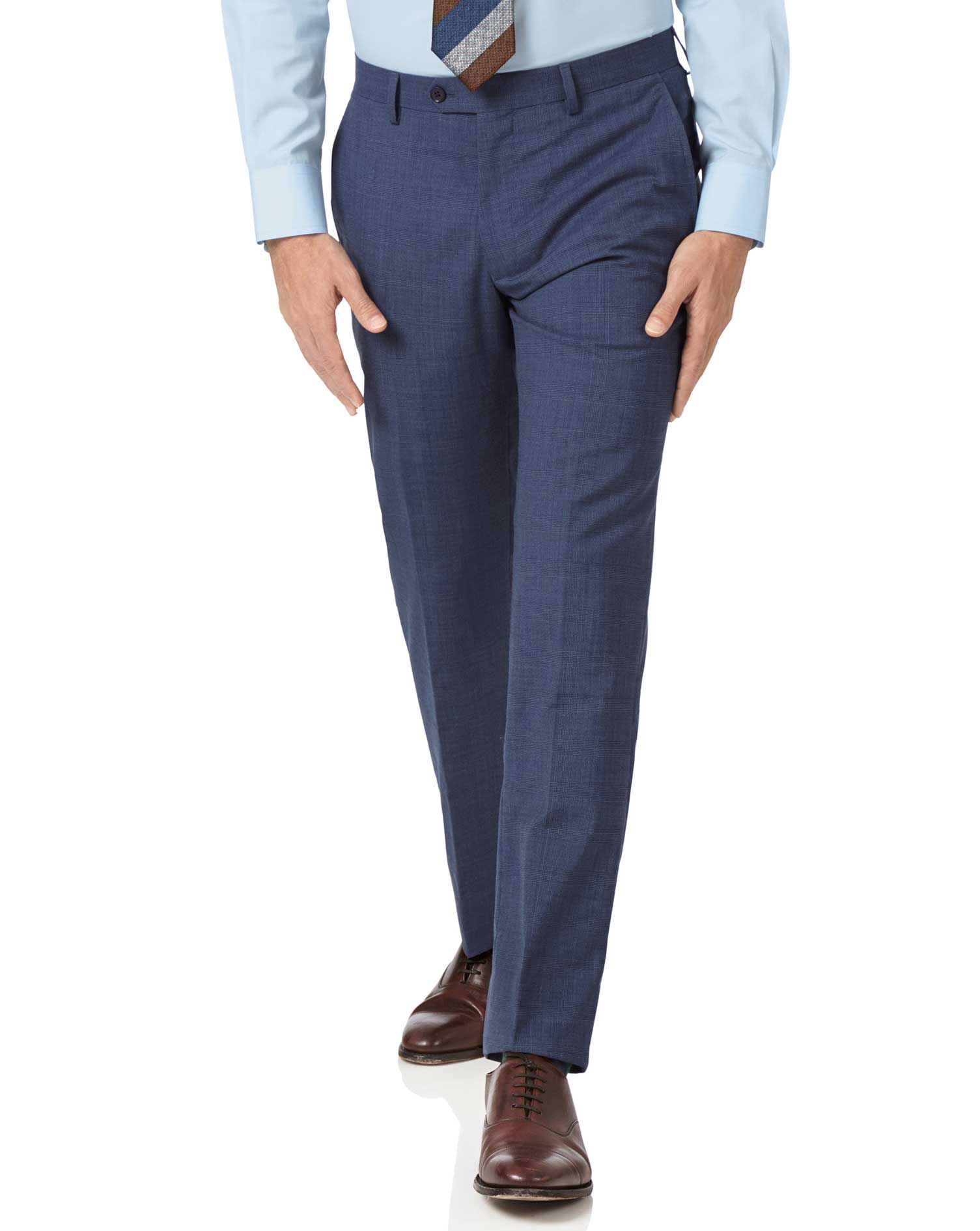 Image of Charles Tyrwhitt Airforce Blue Slim Fit Panama Check Business Suit Trousers Size W102 L97 by Charles Tyrwhitt
