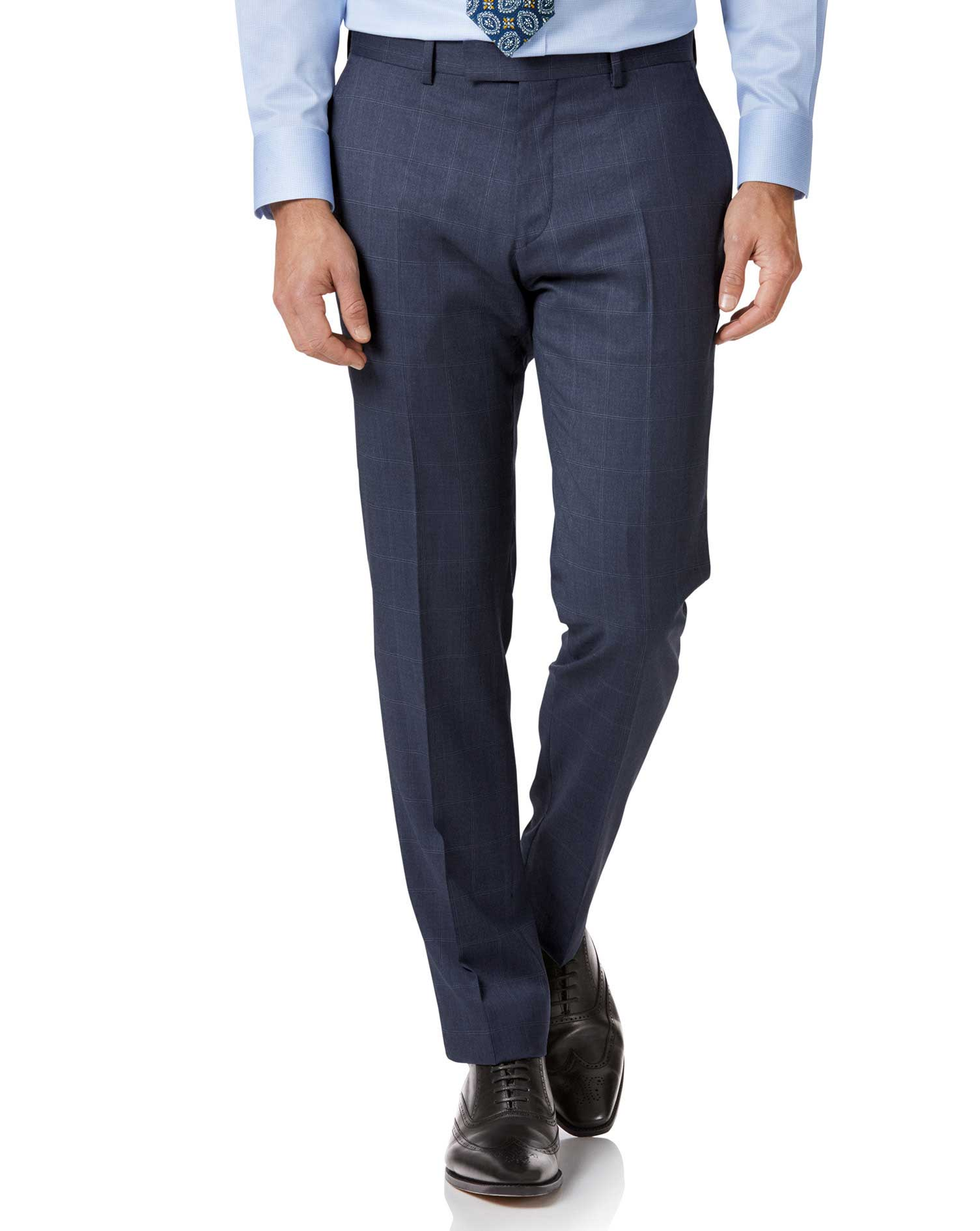Image of Charles Tyrwhitt Airforce Blue Slim Fit Italian Suit Trousers Size W76 L81 by Charles Tyrwhitt