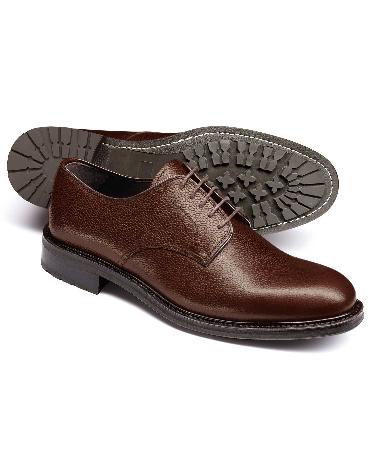 Brown Otterham Derby Shoes Size 12 R by Charles Tyrwhitt
