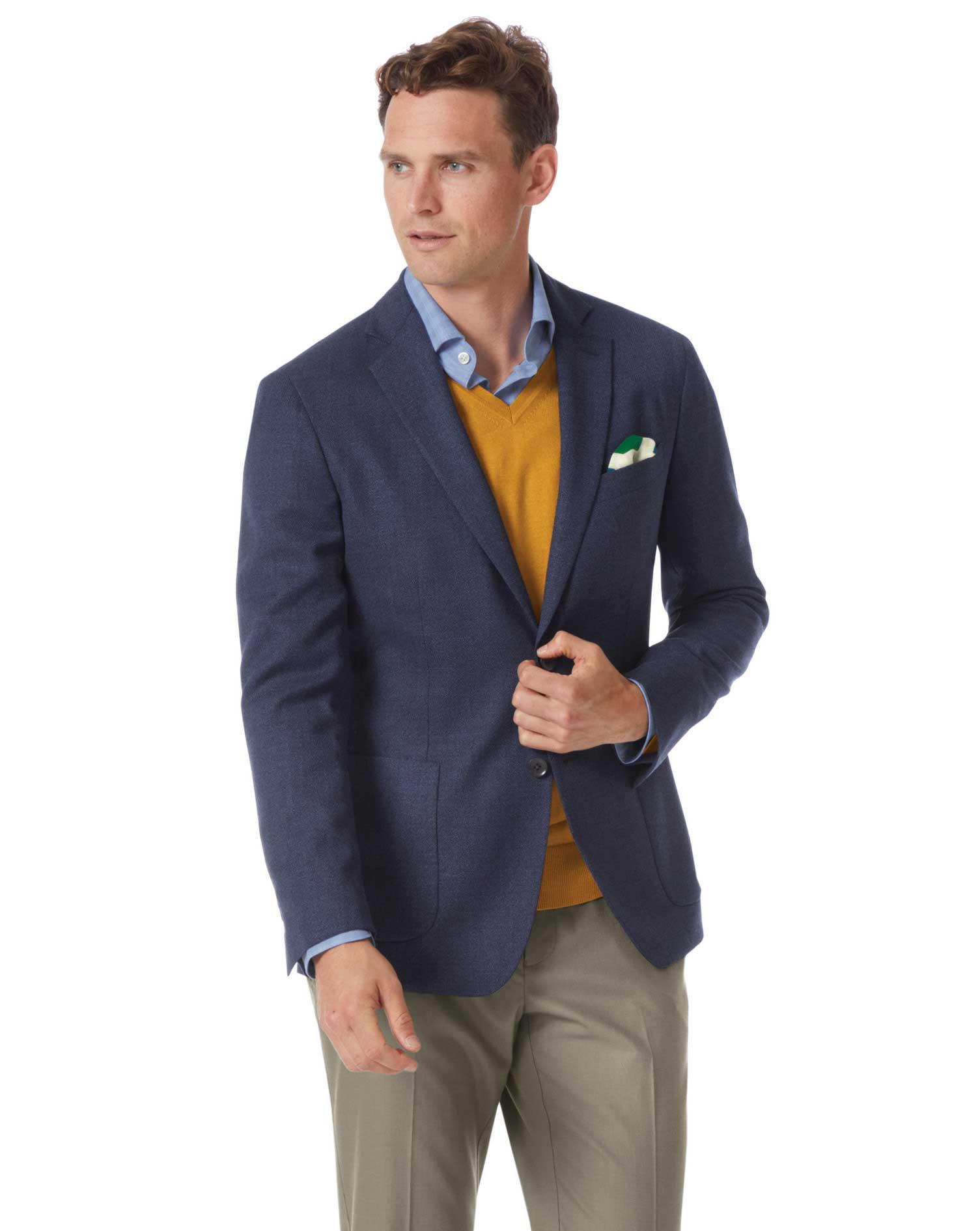 Slim Fit Indigo Blue Italian Wool Blazer Size 40 Long by Charles Tyrwhitt
