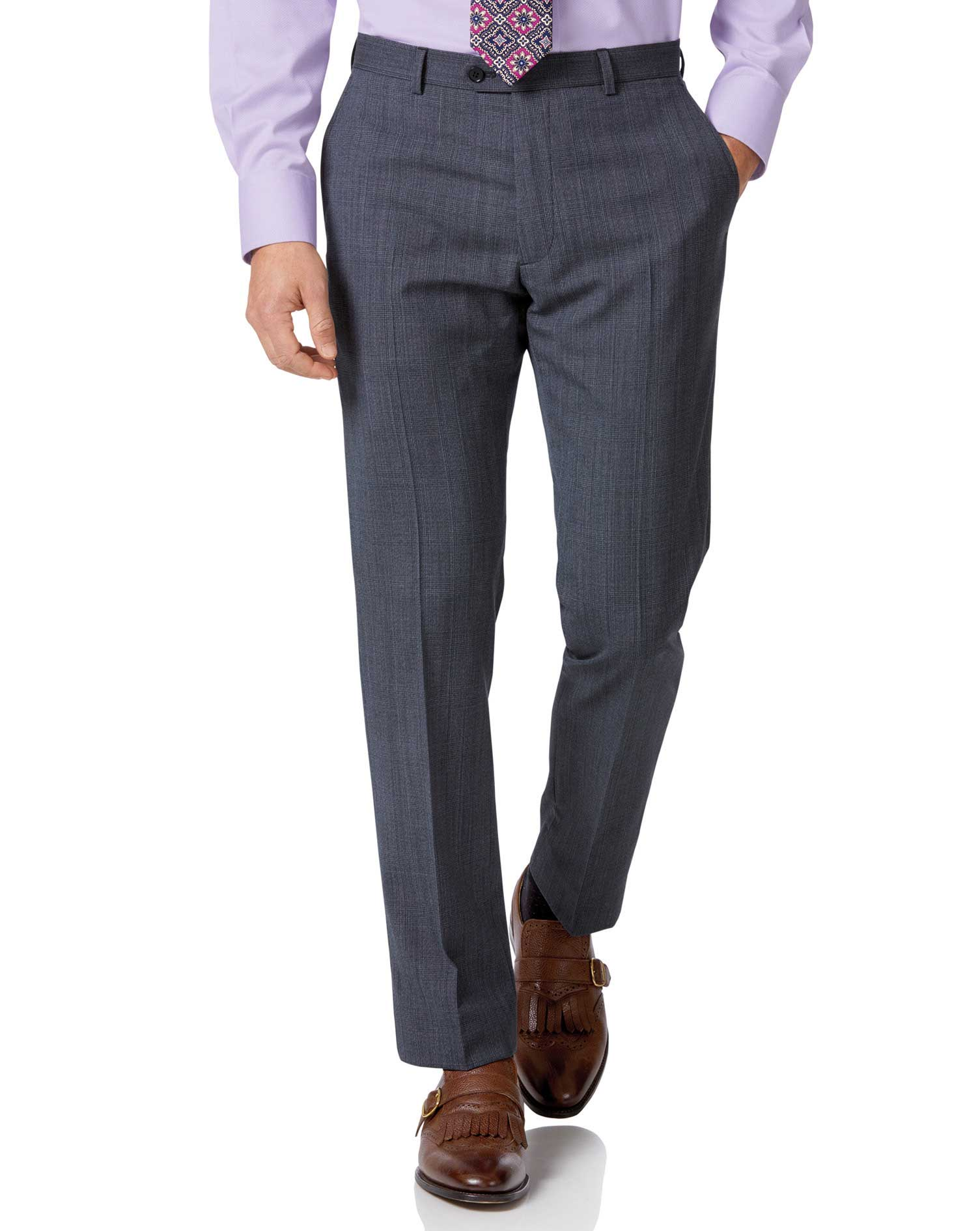 Image of Charles Tyrwhitt Airforce Blue Check Slim Fit Twist Business Suit Trousers Size W102 L81 by Charles Tyrwhitt