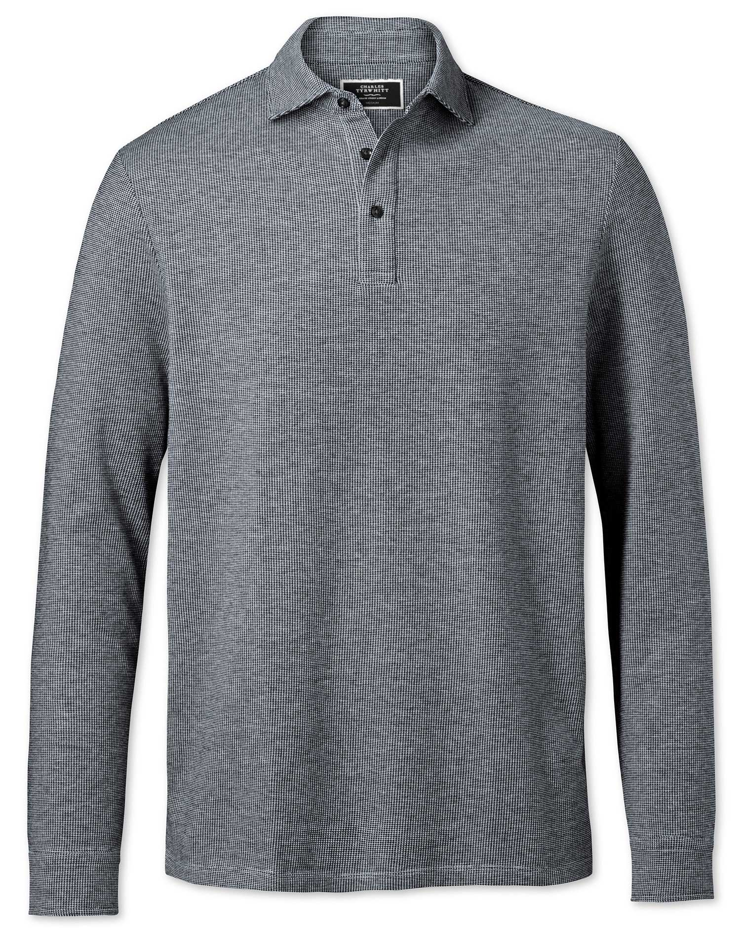 Black and White Long Sleeve Textured Cotton Polo Size Large by Charles Tyrwhitt
