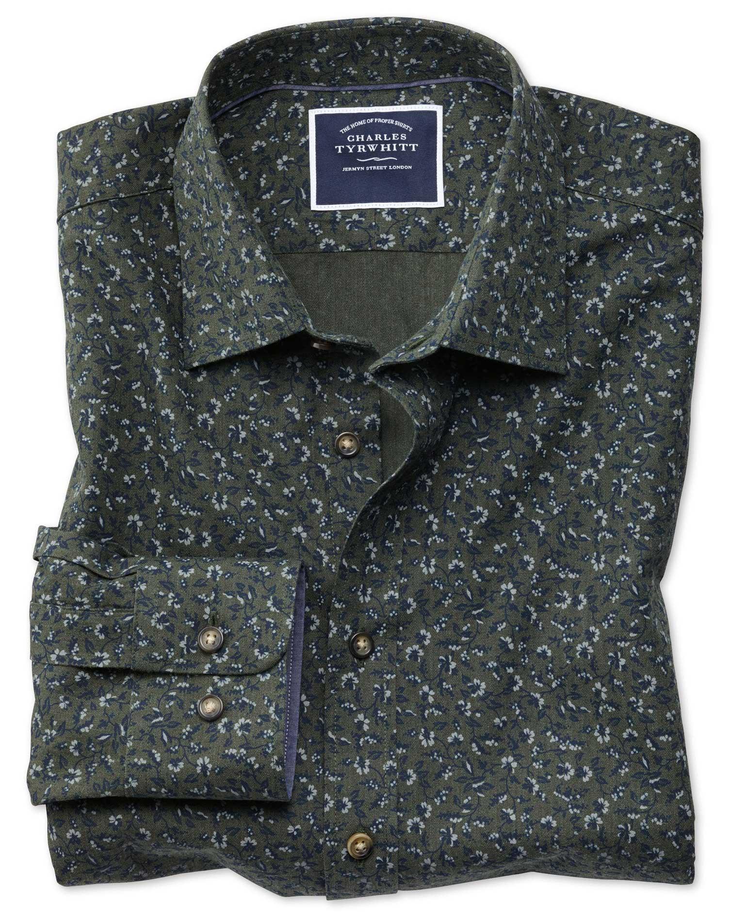 Slim Fit Green Floral Print Cotton Shirt Single Cuff Size XL by Charles Tyrwhitt