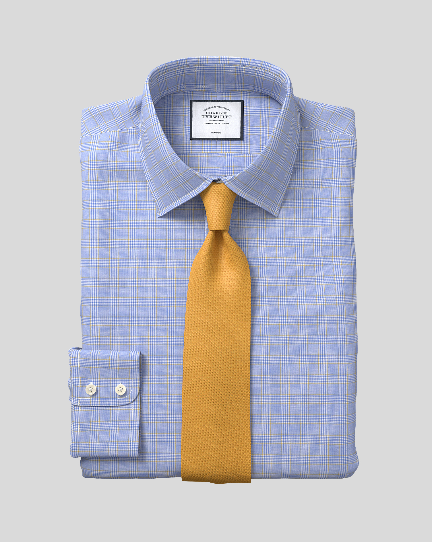Slim Fit Non-Iron Blue and Gold Prince Of Wales Check Cotton Formal Shirt Single Cuff Size 16/32 by