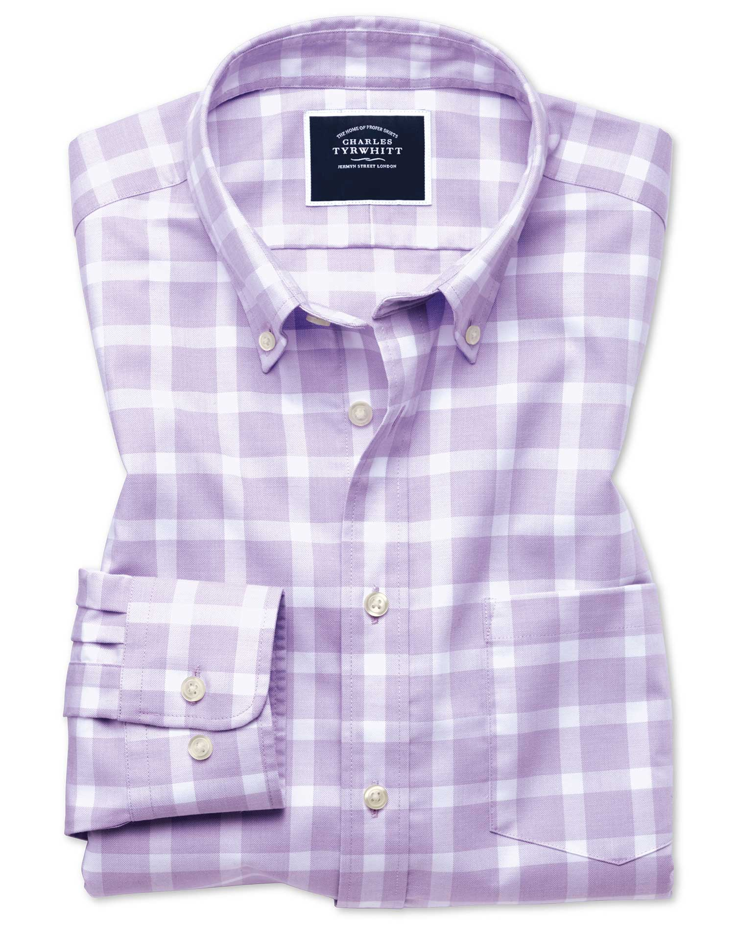 Slim Fit Lilac Block Check Soft Washed Non-Iron Twill Cotton Shirt Single Cuff Size XS by Charles Ty