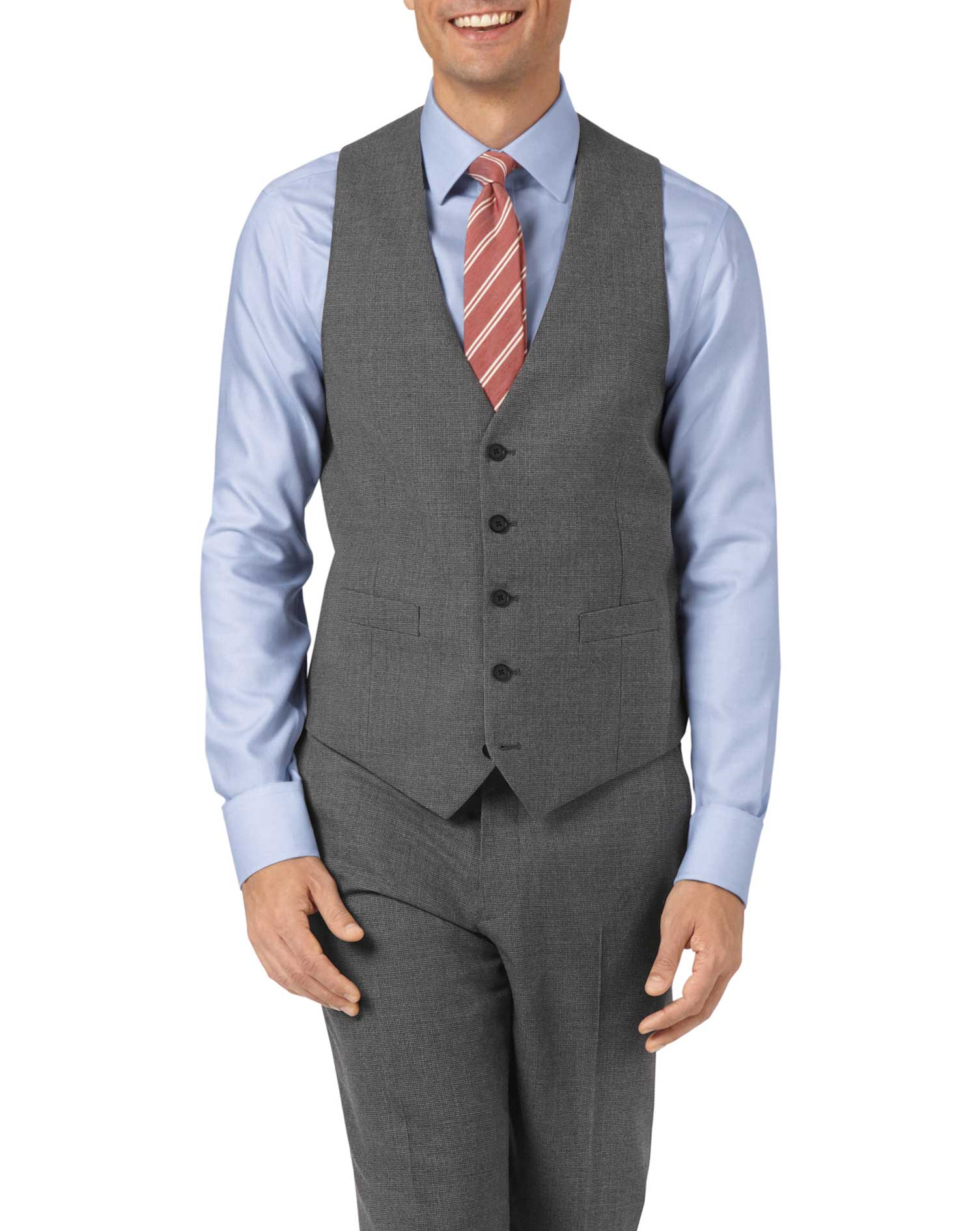 Charcoal Adjustable Fit Panama Puppytooth Business Suit Wool Waistcoat Size w36 by Charles Tyrwhitt