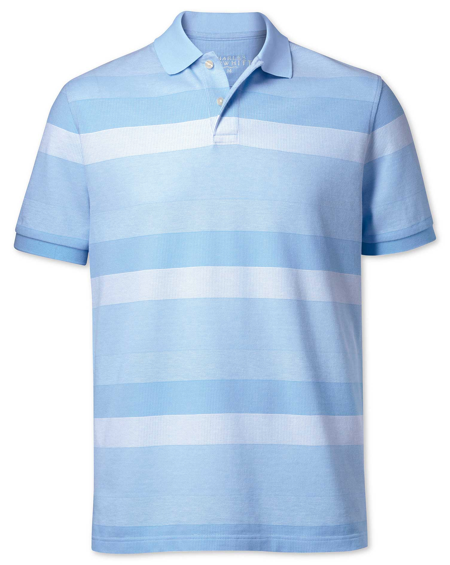 Sky Blue and White Textured Stripe Cotton Polo Size XS by Charles Tyrwhitt