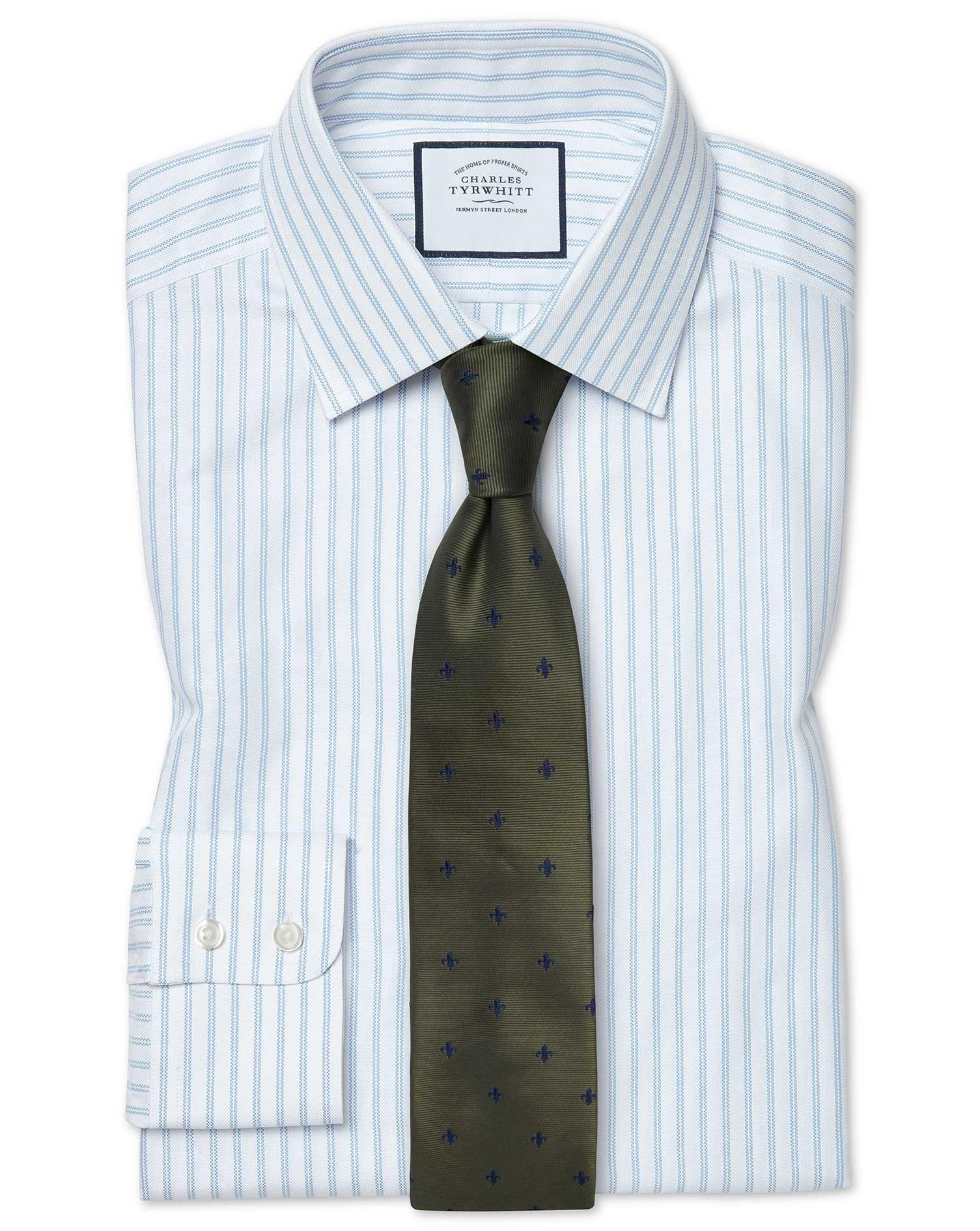 Cotton Slim Fit Brushed-Back Basketweave Striped Blue Shirt