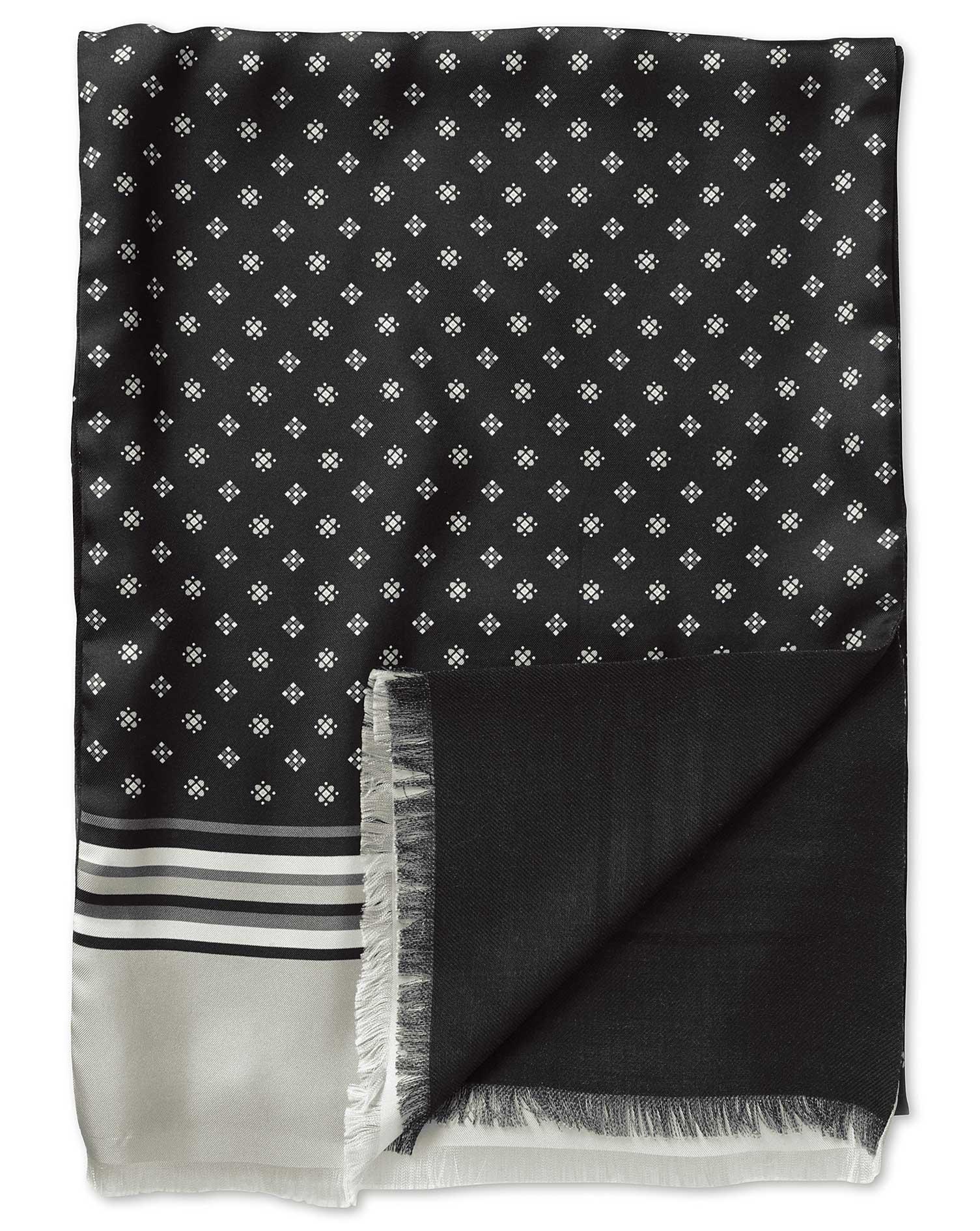 Black Printed Geometric Silk Scarf Size OSFA by Charles Tyrwhitt