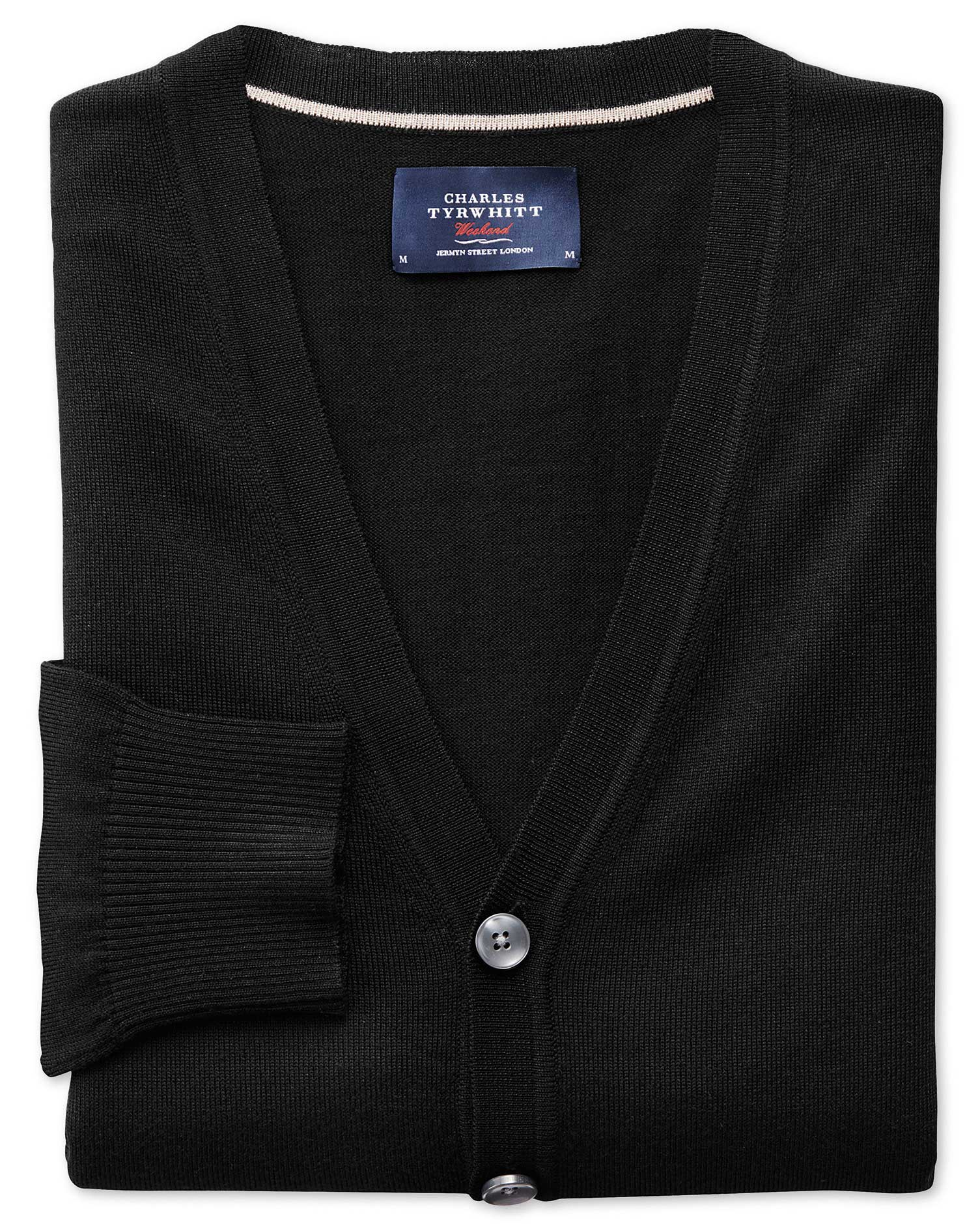 Black Merino Wool Cardigan Size Medium by Charles Tyrwhitt
