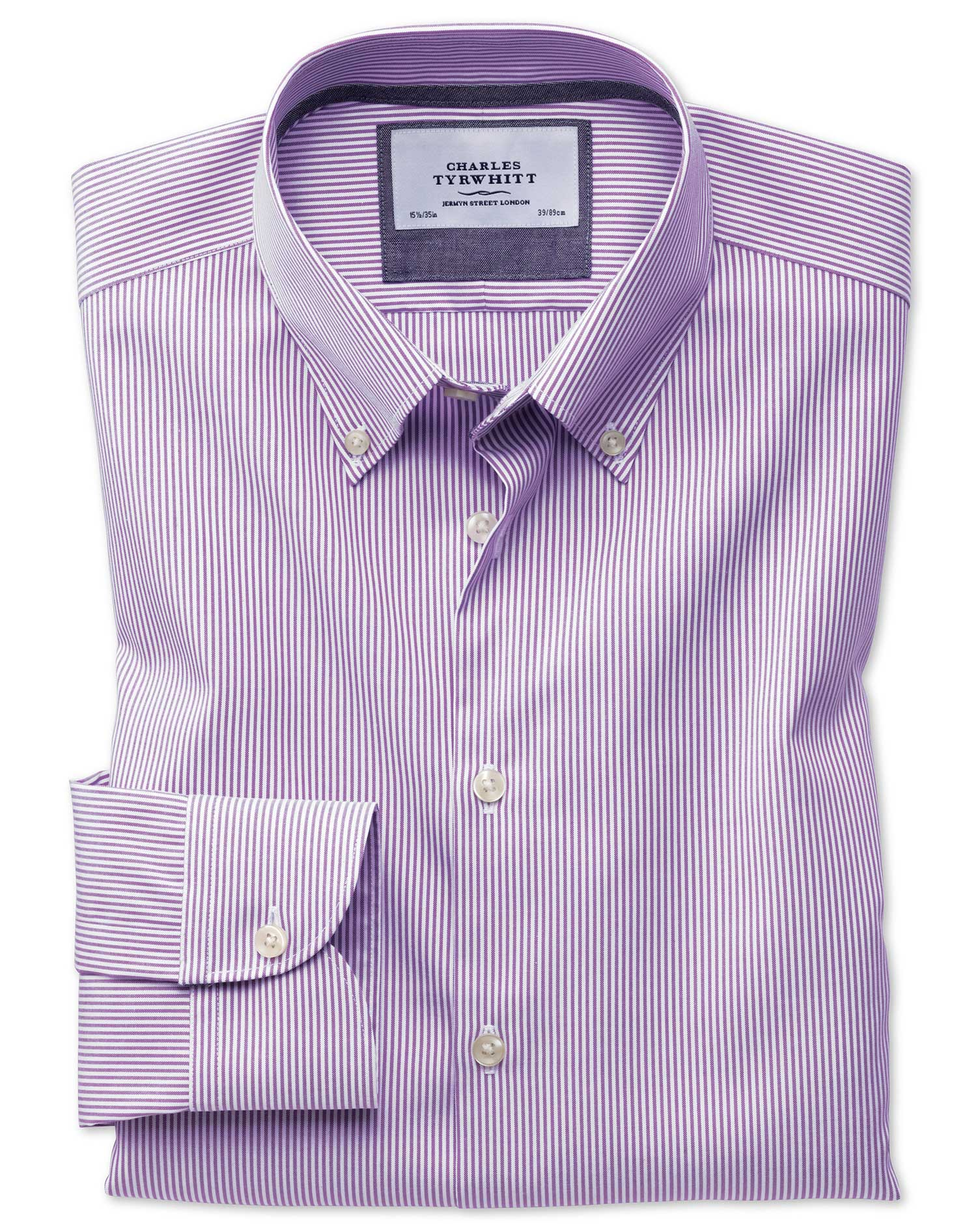 Classic Fit Button-Down Business Casual Non-Iron Violet Stripe Cotton Formal Shirt Single Cuff Size