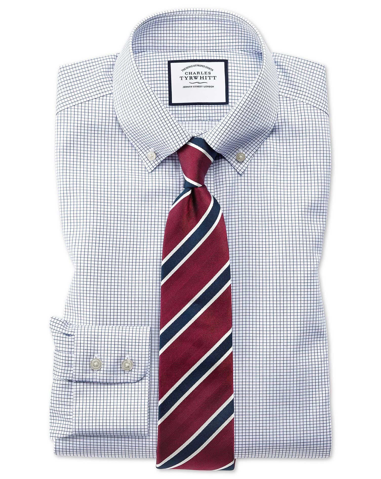 Extra Slim Fit Button-Down Non-Iron Twill Mini Grid Check Navy Cotton Formal Shirt Single Cuff Size